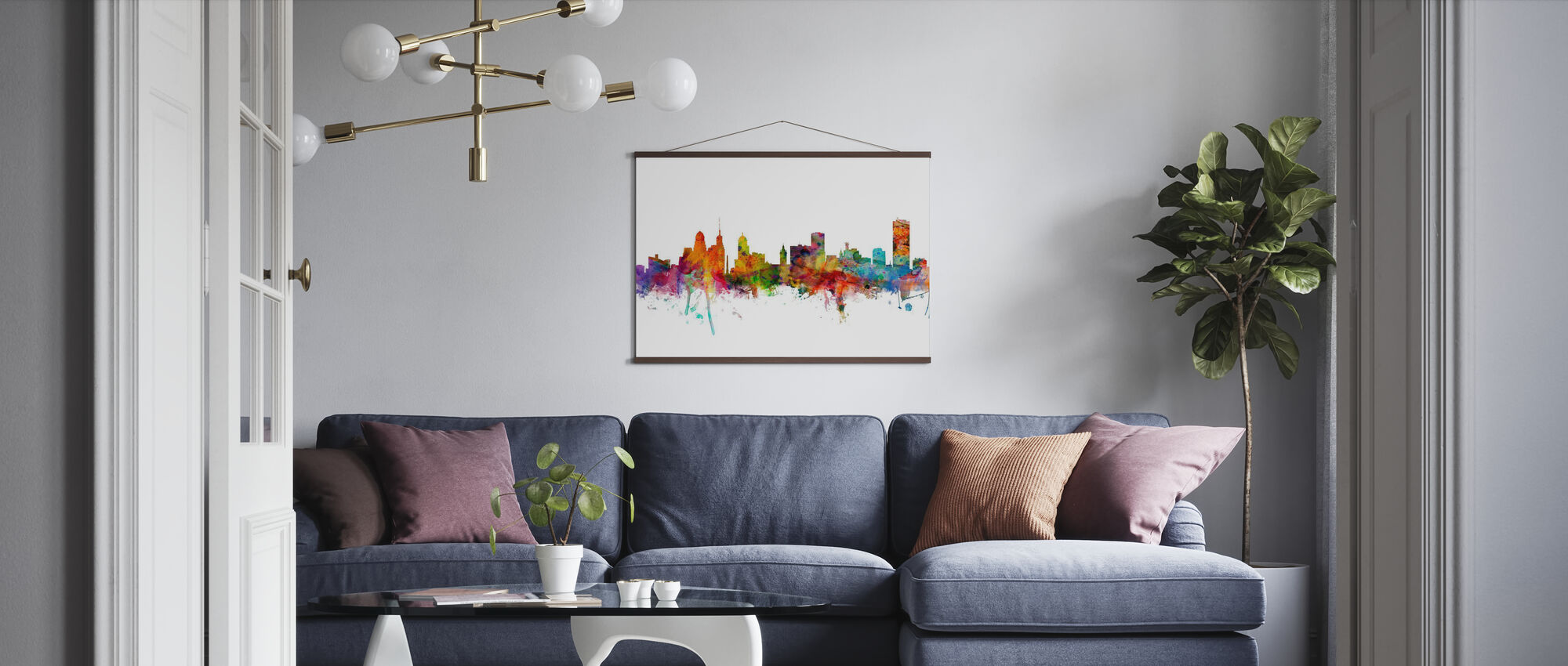 Skyline van Buffalo New York - Poster - Woonkamer