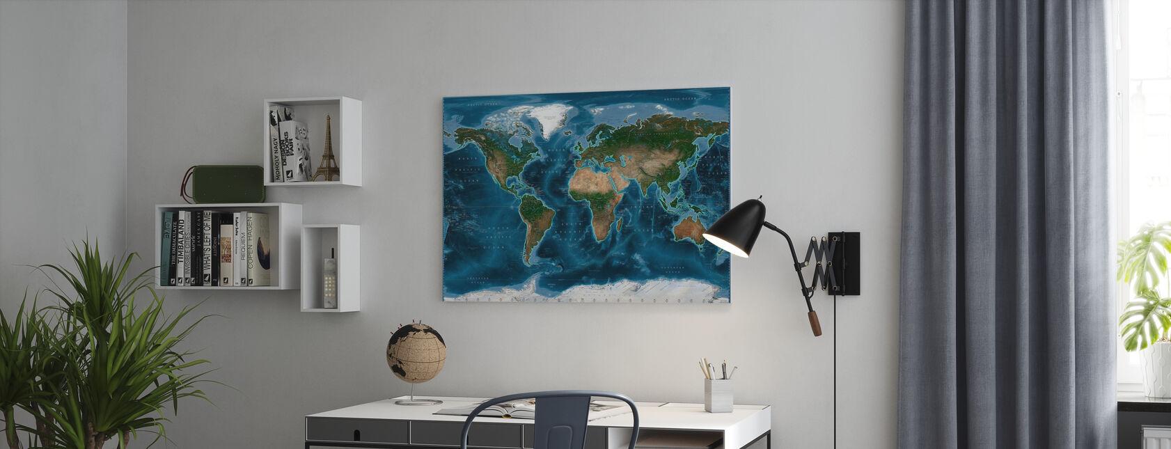 Satelite Kort - Billede på lærred - Kontor