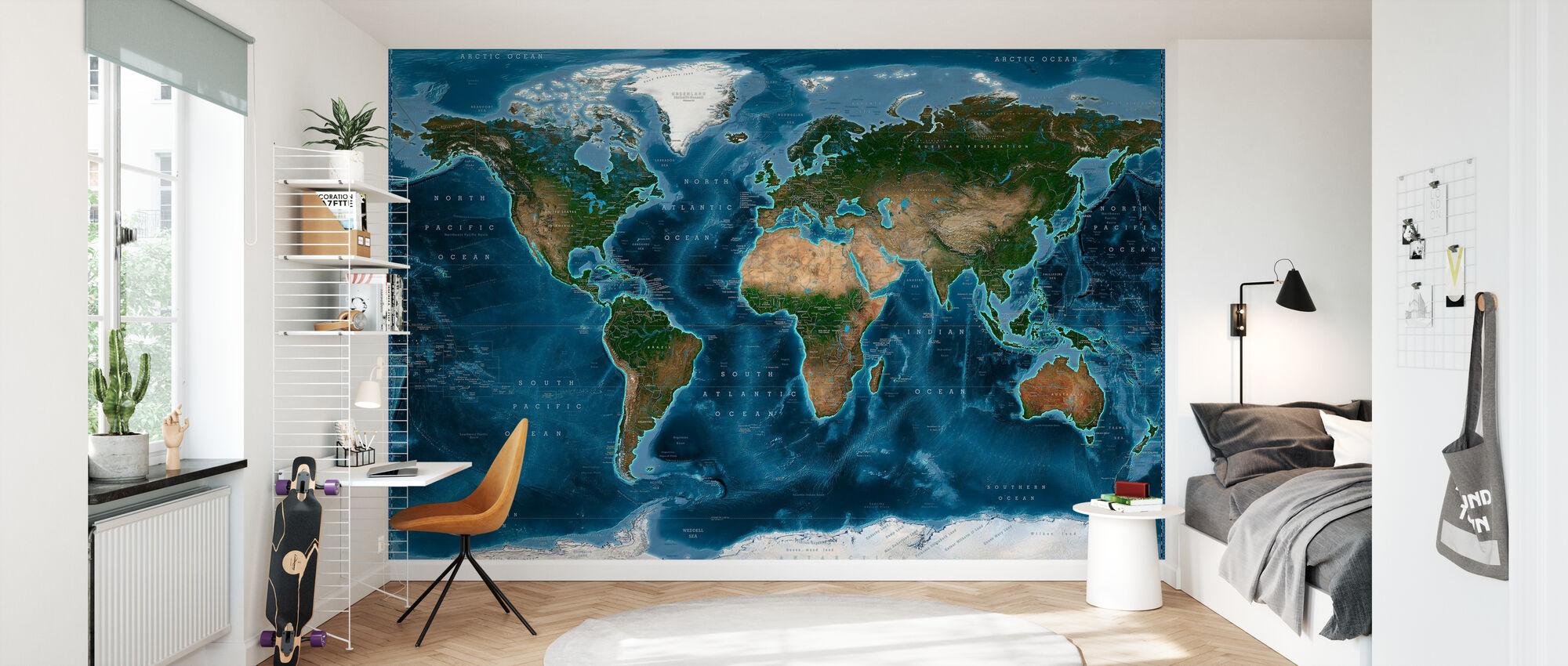 Satelite Map - Wallpaper - Kids Room