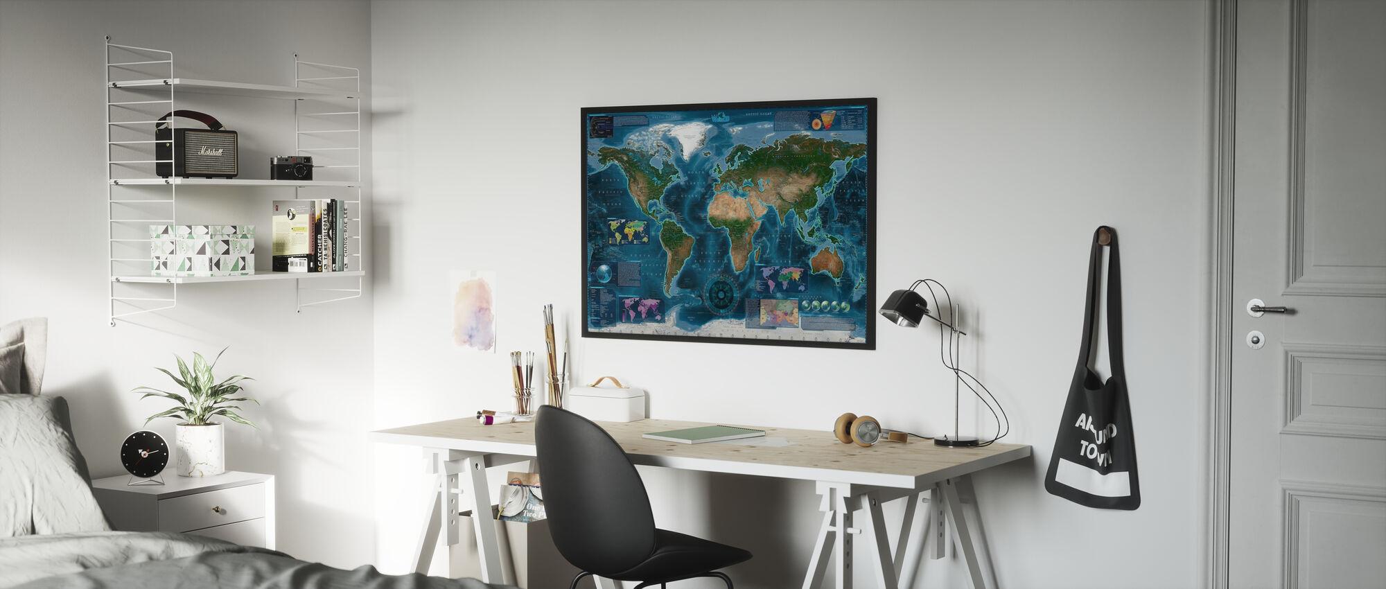 Satelite Karte Infografik - Poster - Kinderzimmer