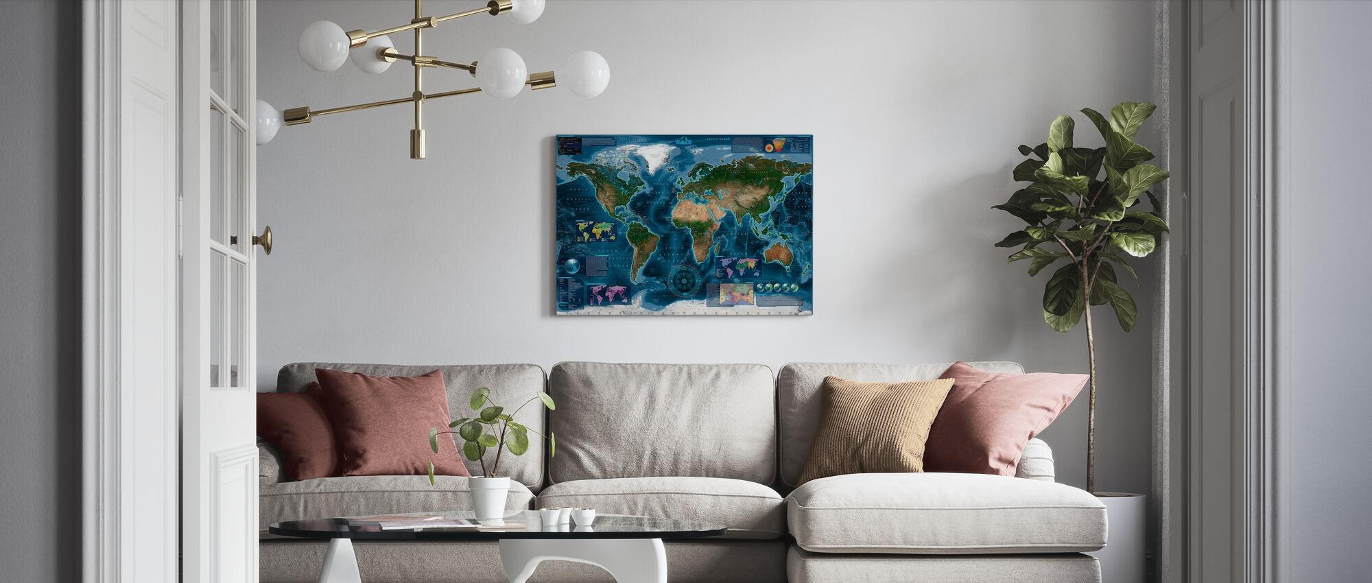 Satelite Kaart Infographic - Canvas print - Woonkamer