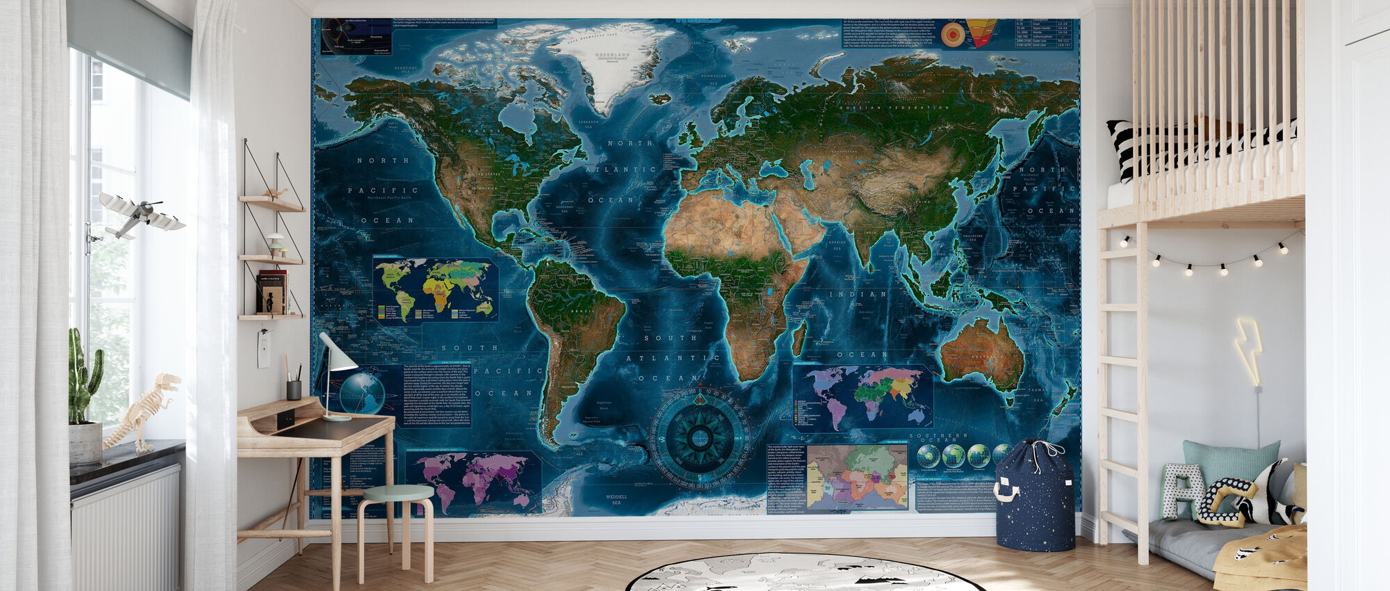Satelite Map Infographic - Wallpaper - Kids Room