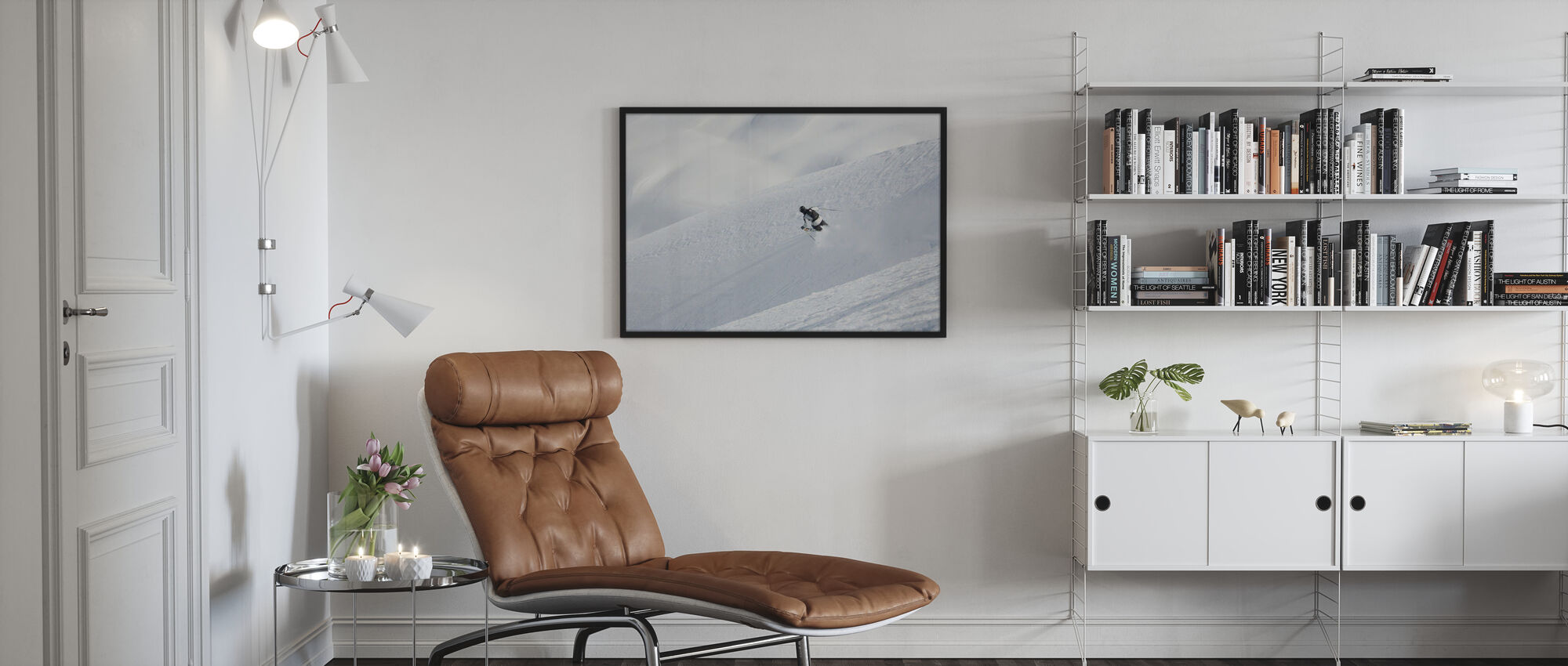 Off Piste Skiing in Chamonix, France, Europe - Poster - Living Room