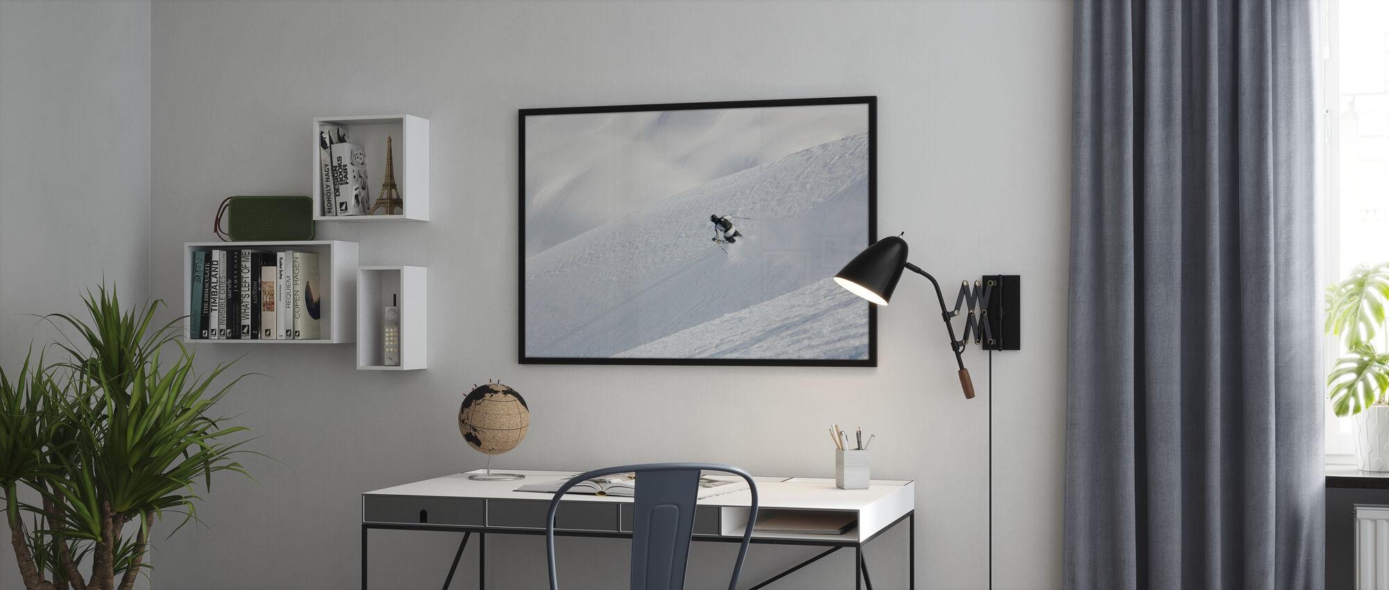 Off piste skiën in Chamonix, Frankrijk, Europa - Ingelijste print - Kantoor