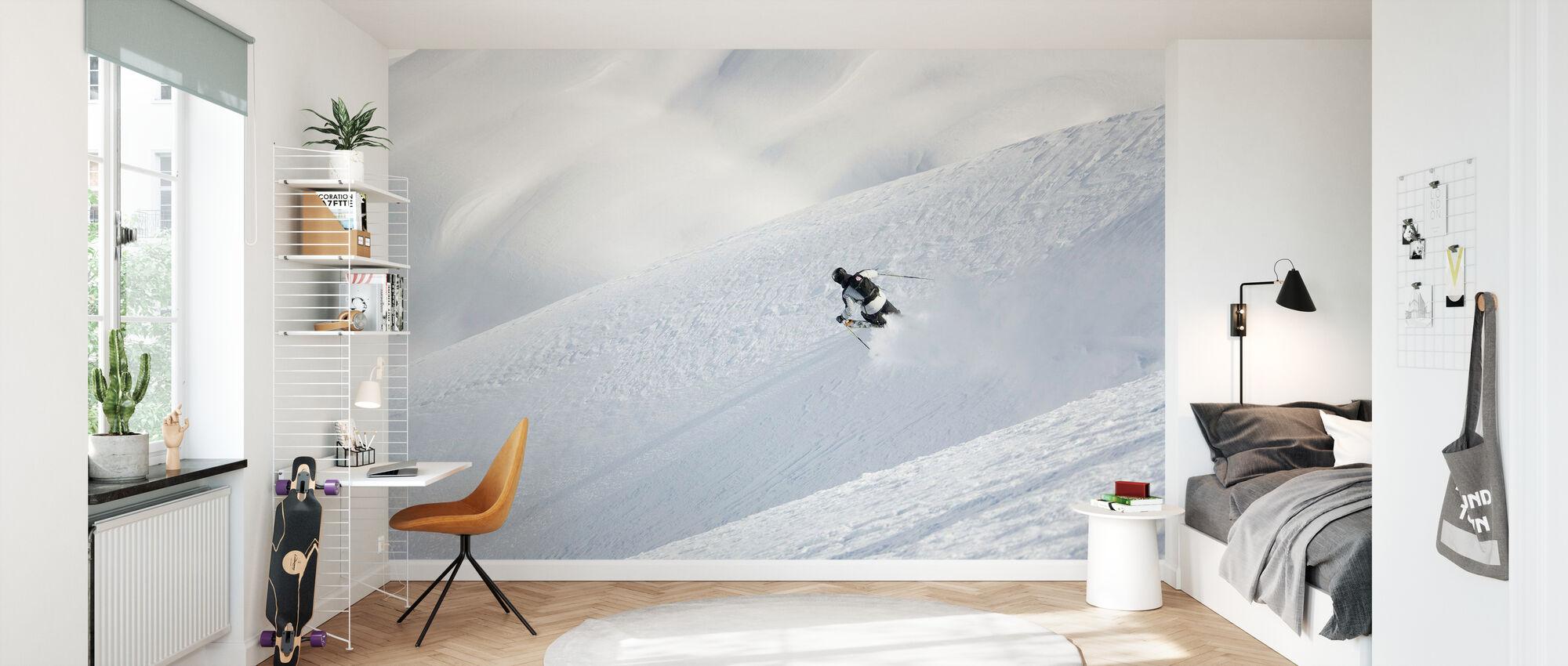 Off Piste skidåkning i Chamonix, Frankrike, Europa - Tapet - Barnrum