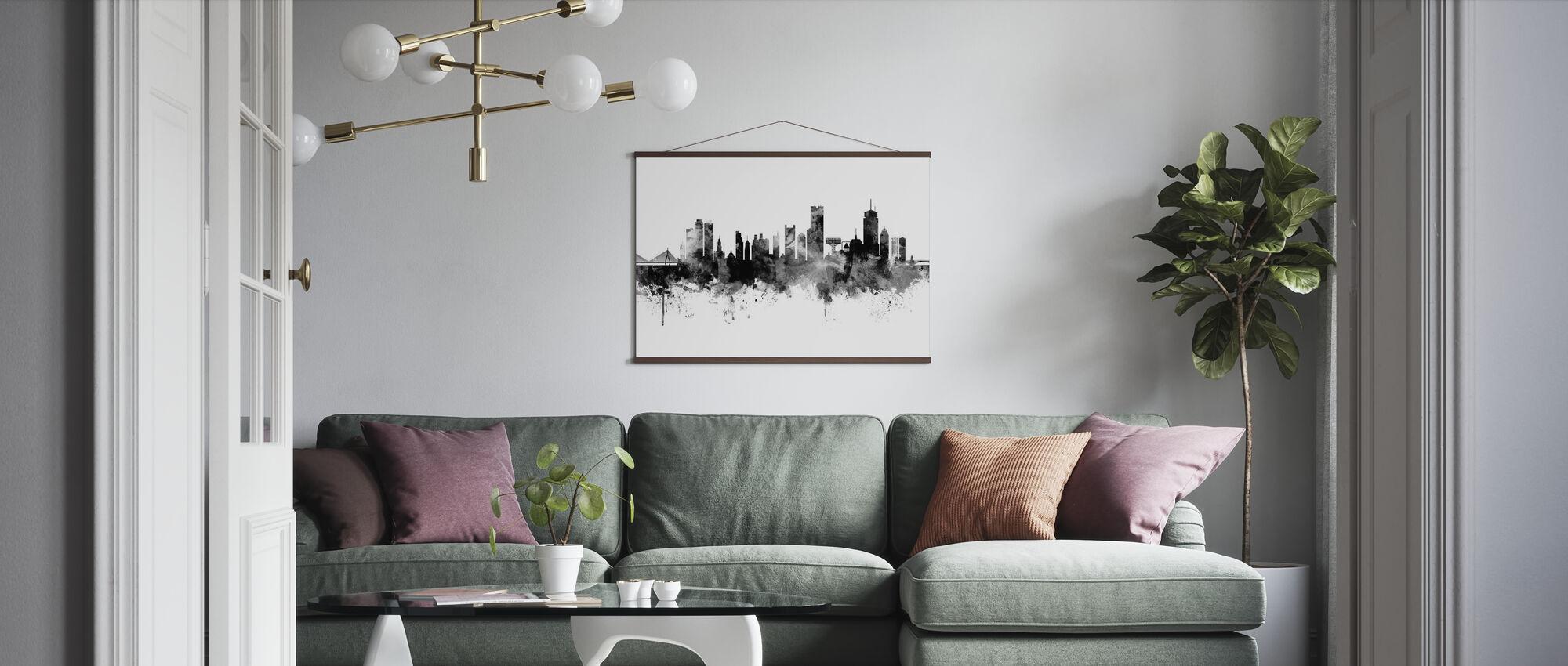 Boston Massachusetts Skyline, musta ja valkoinen - Juliste - Olohuone