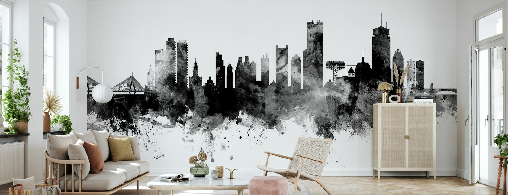 Boston Massachusetts Skyline, black and white - Wallpaper - Living Room