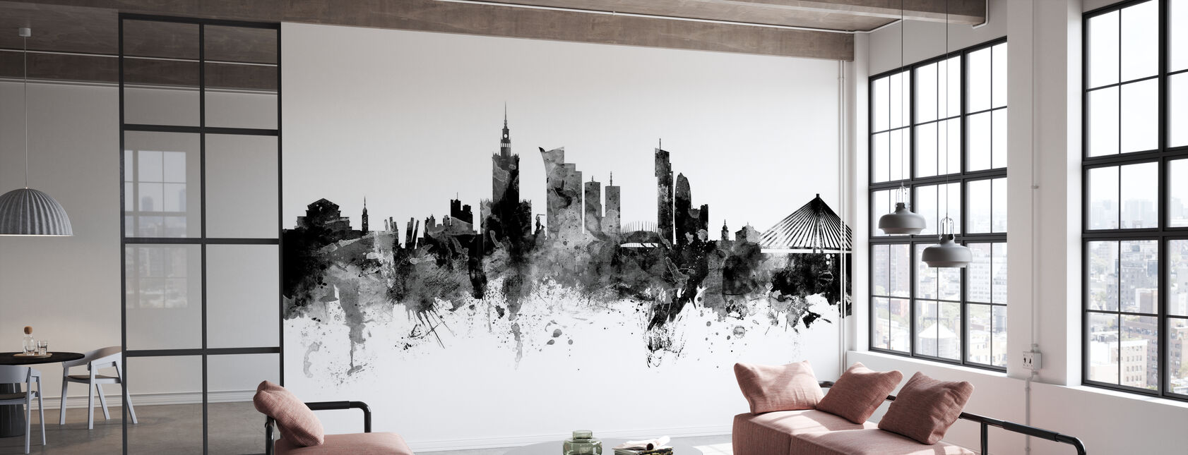 Warszawska Skyline czarno-biała - Tapeta - Biuro