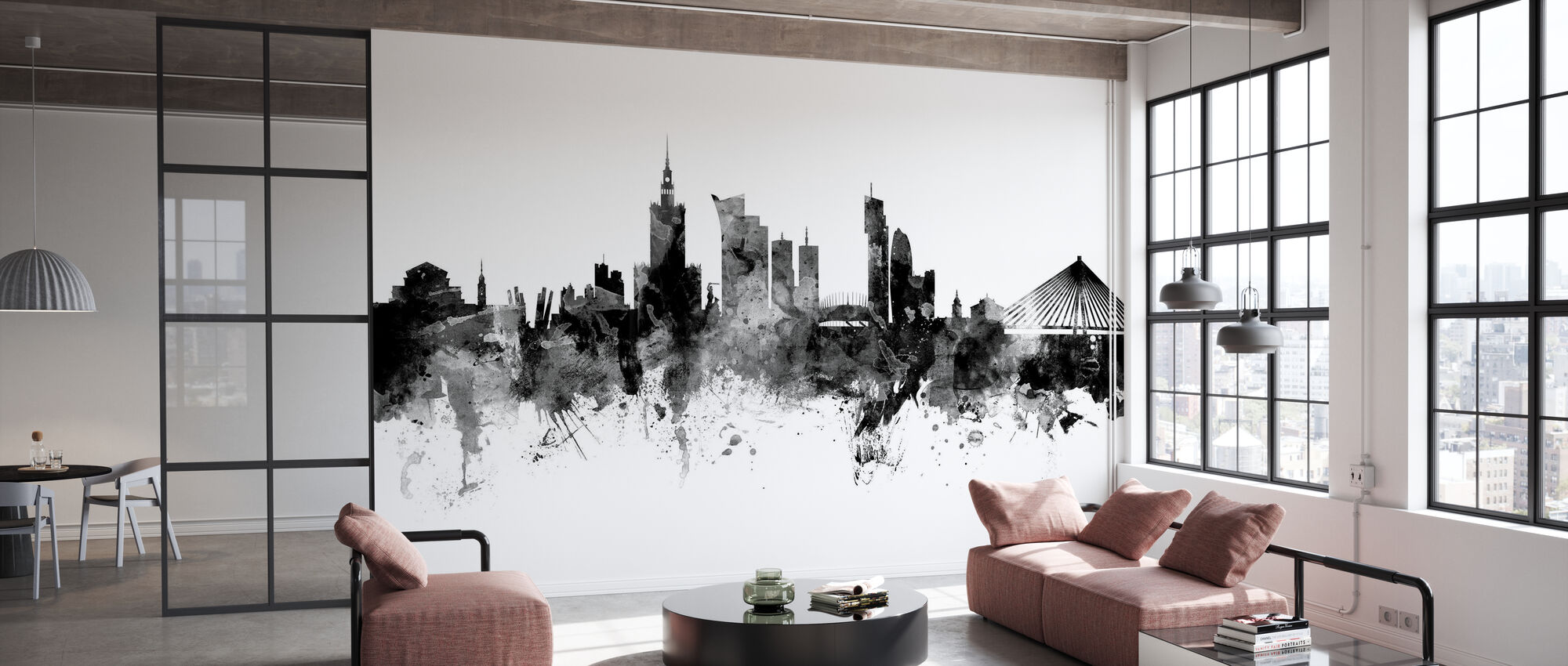 Warsaw Skyline, black and white - Wallpaper - Office