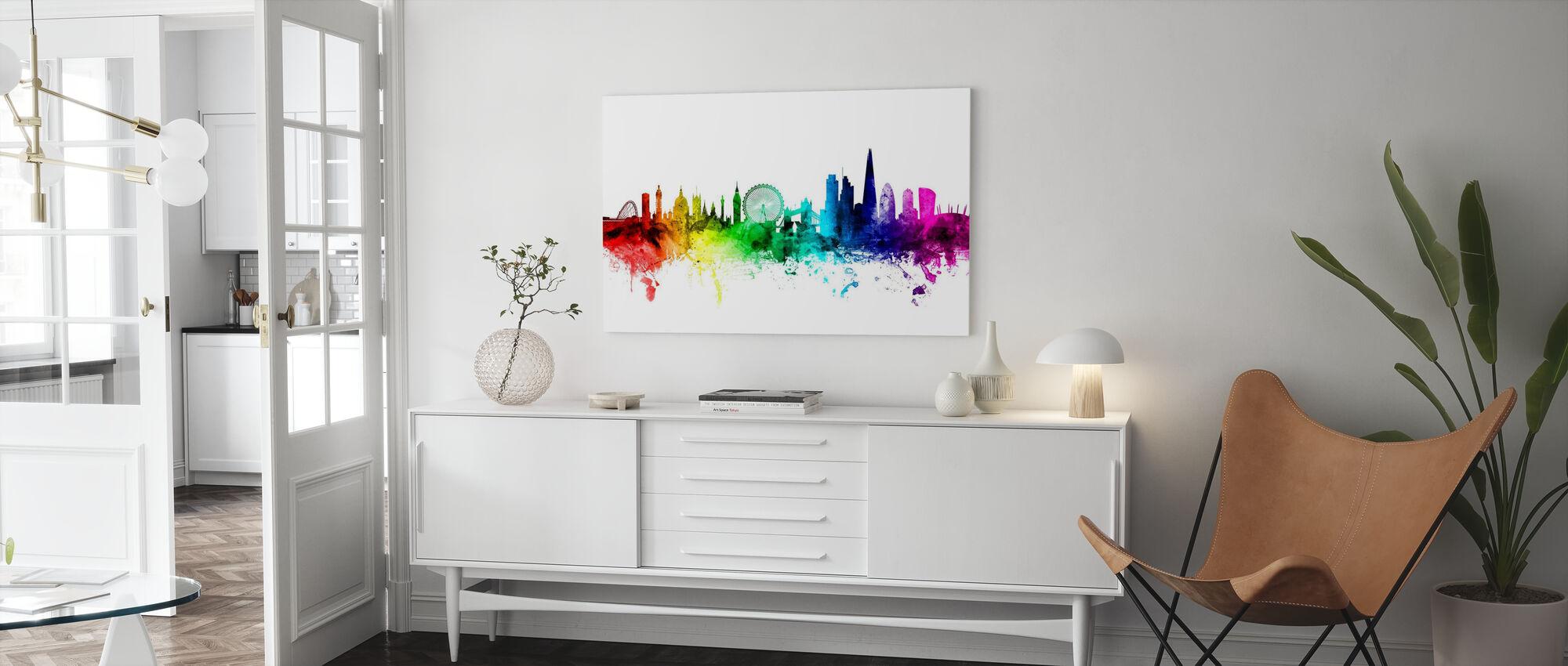 London Skyline Regenbogen - Leinwandbild - Wohnzimmer