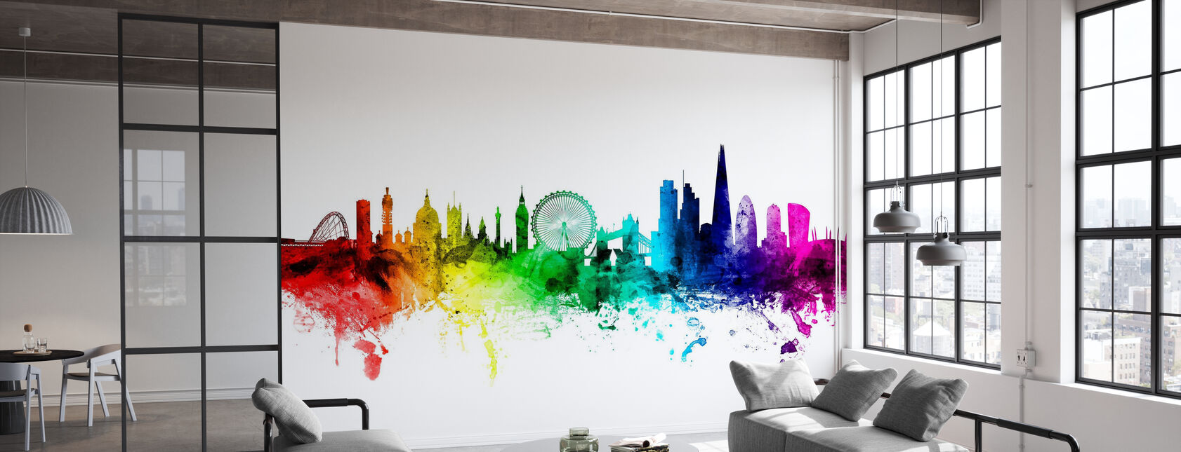 London Skyline Rainbow - Wallpaper - Office