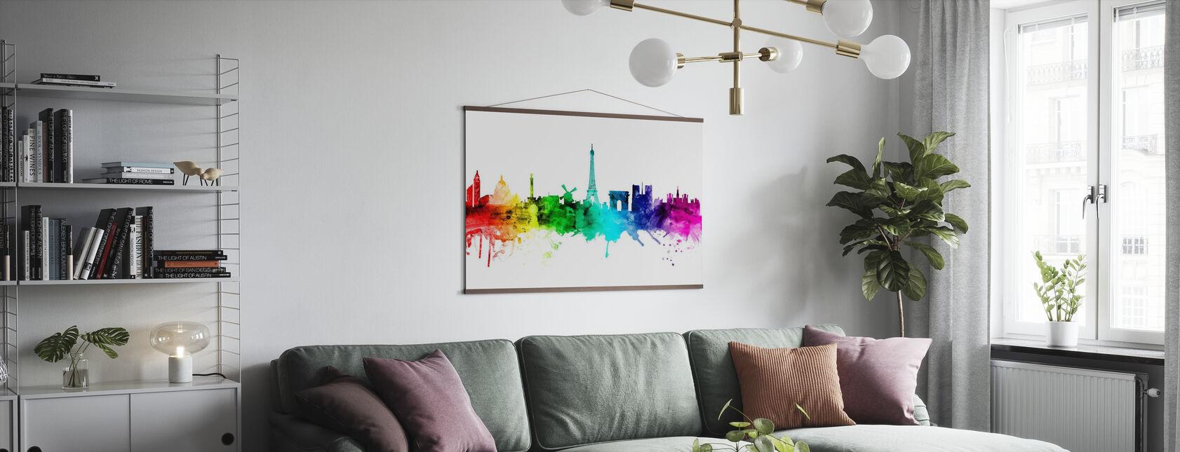 Paris Skyline Rainbow - Poster - Living Room