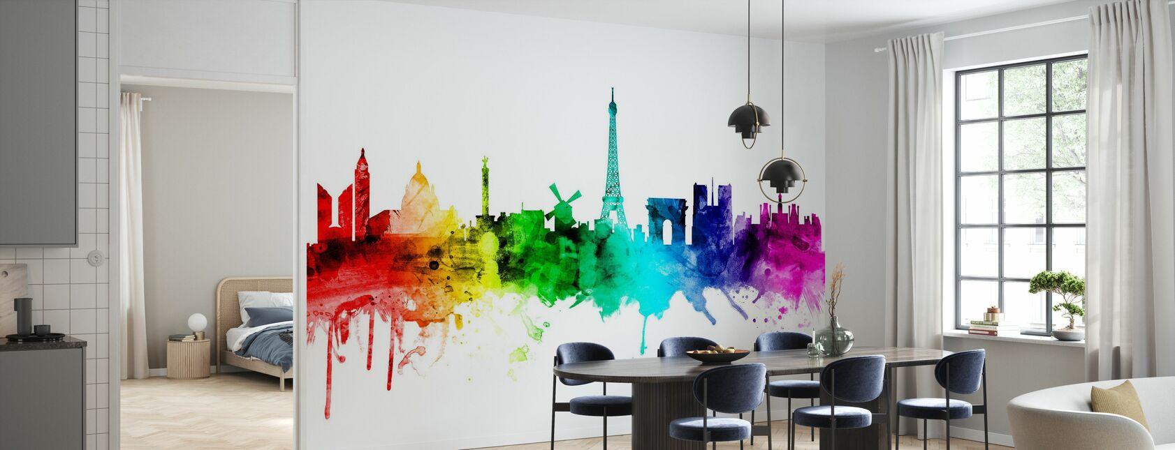 Paris Skyline Rainbow - Wallpaper - Kitchen