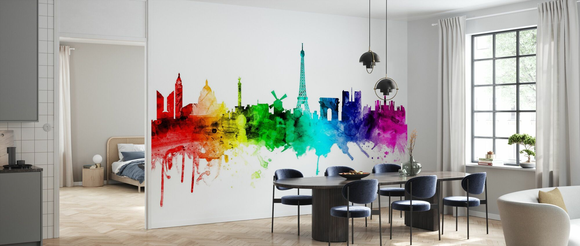 Paris Skyline Rainbow - Wallpaper - Kitchen