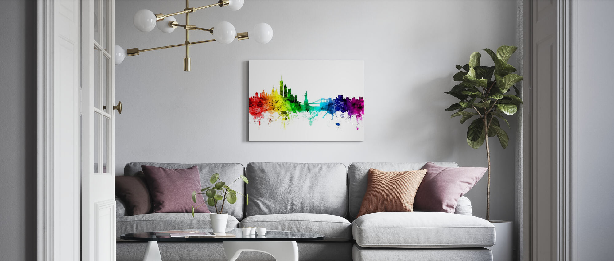 New York Skyline Rainbow - Canvas print - Living Room