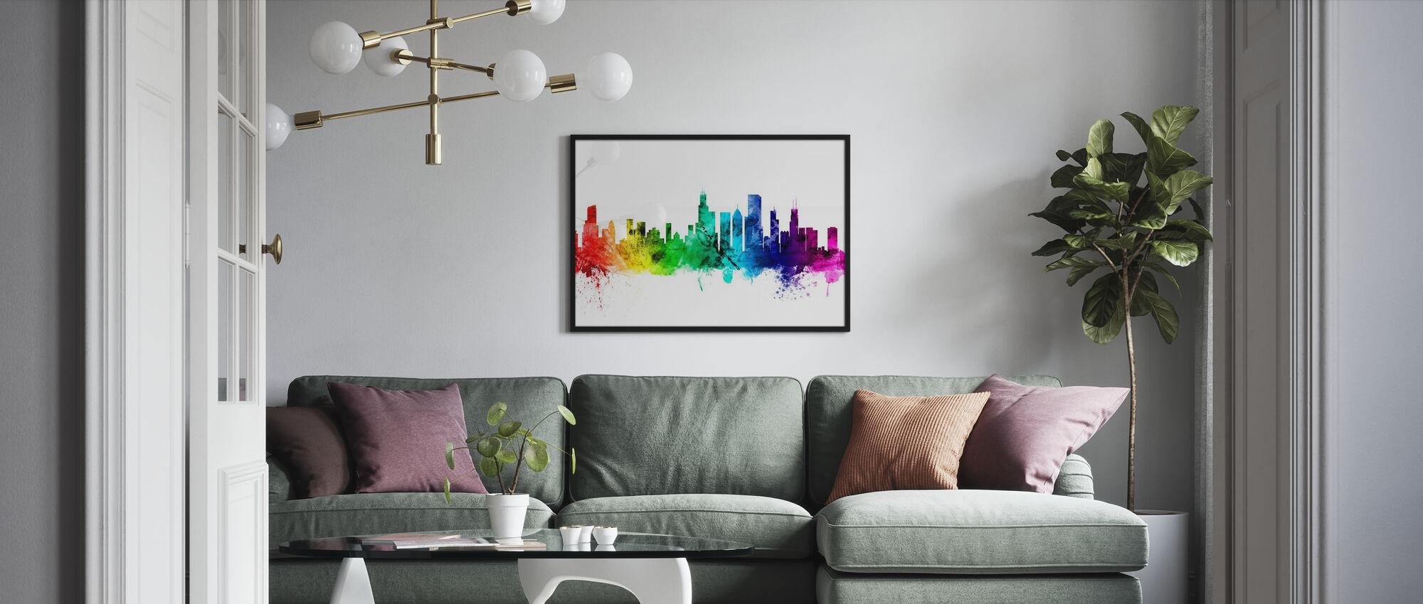 Chicago Illinois Skyline - Ingelijste print - Woonkamer