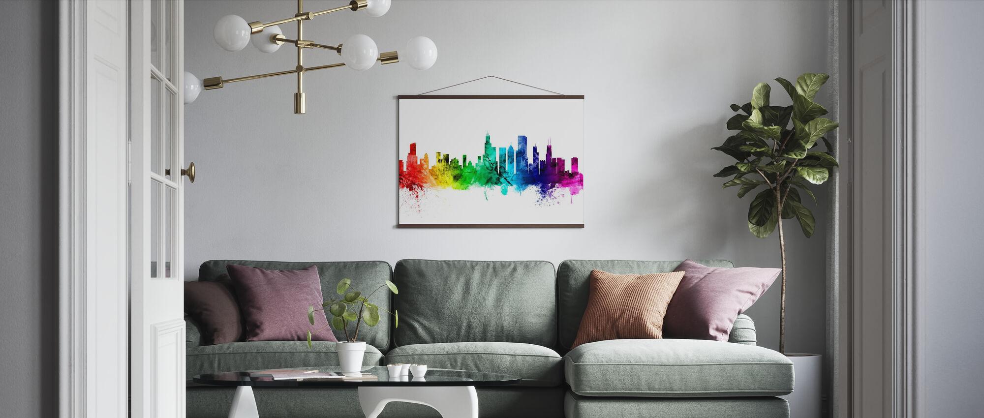 Chicago Illinois Skyline - Poster - Woonkamer