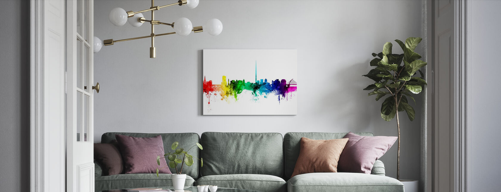 Dublin Skyline Rainbow - Canvas print - Living Room