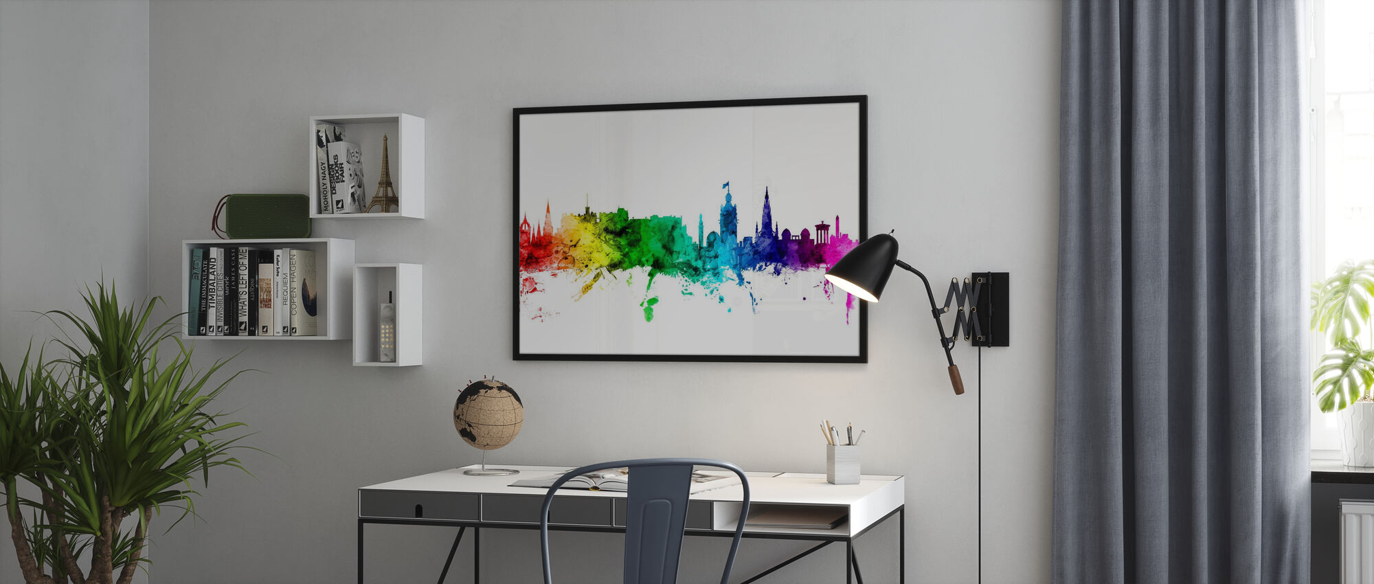 Edinburgh Skyline Rainbow - Framed print - Office