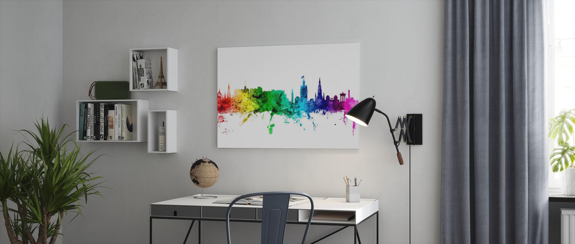 Edinburgh Skyline Rainbow - Canvas print - Office