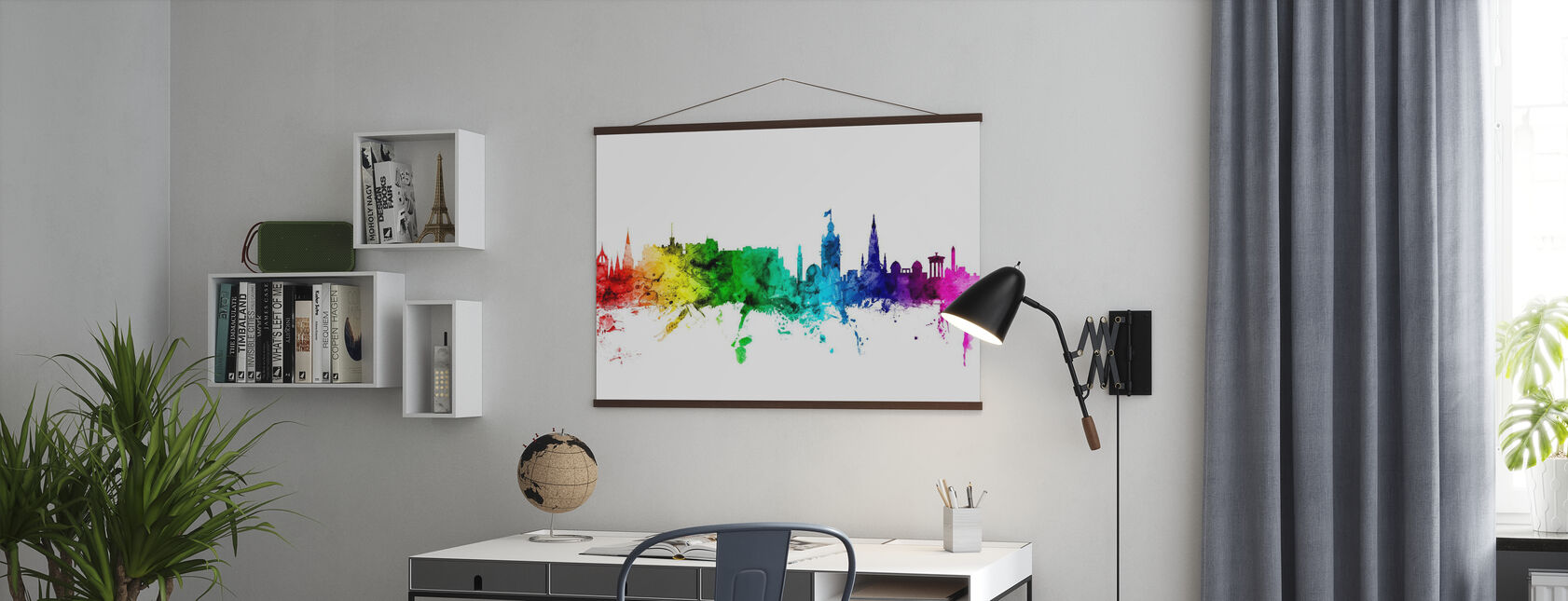 Edinburgh Skyline Rainbow - Poster - Office