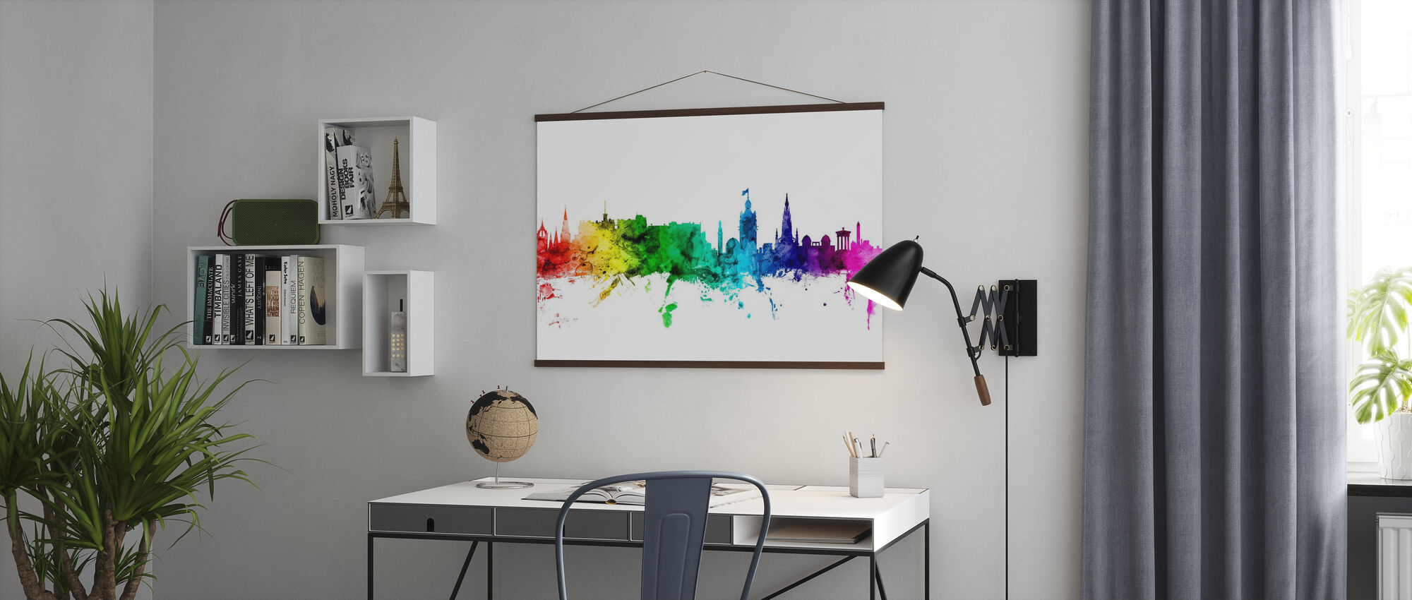 Edinburgh Skyline Regenbogen - Poster - Büro