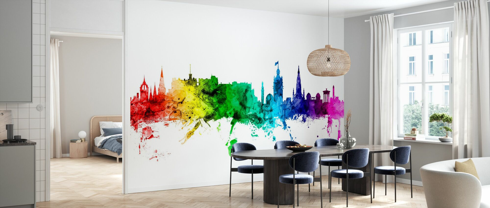 Edinburgh Skyline Rainbow - Wallpaper - Kitchen