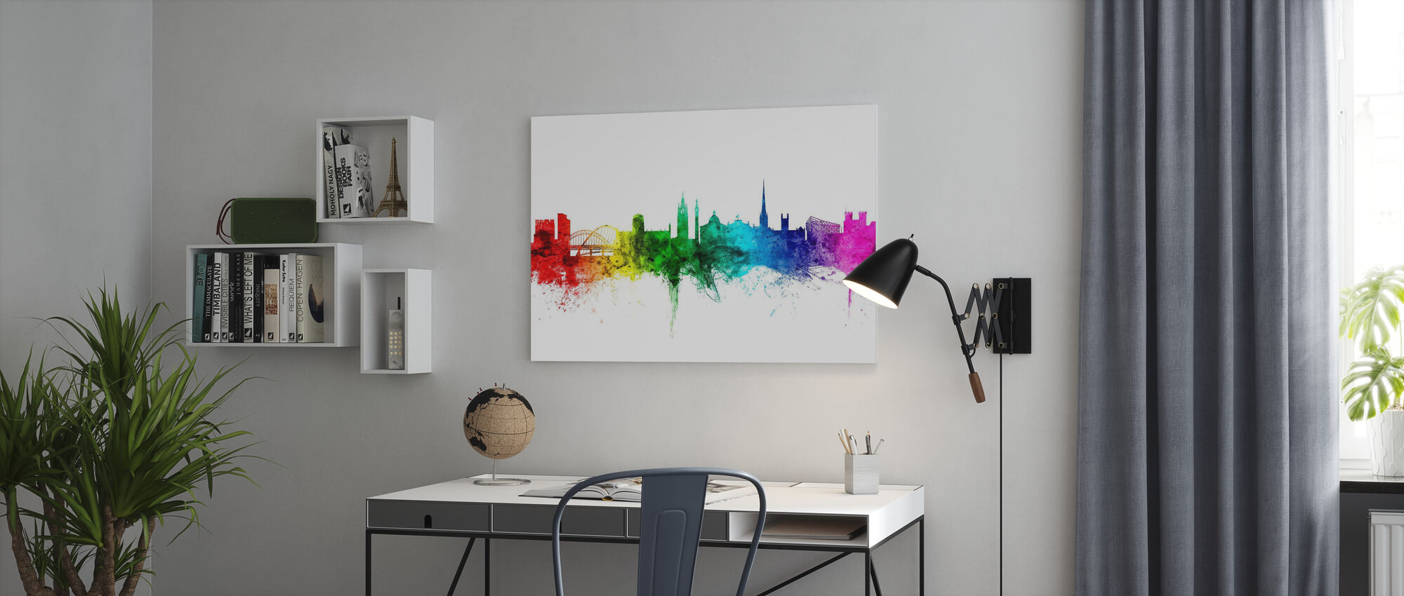 Newcastle Skyline Rainbow - Canvas print - Office