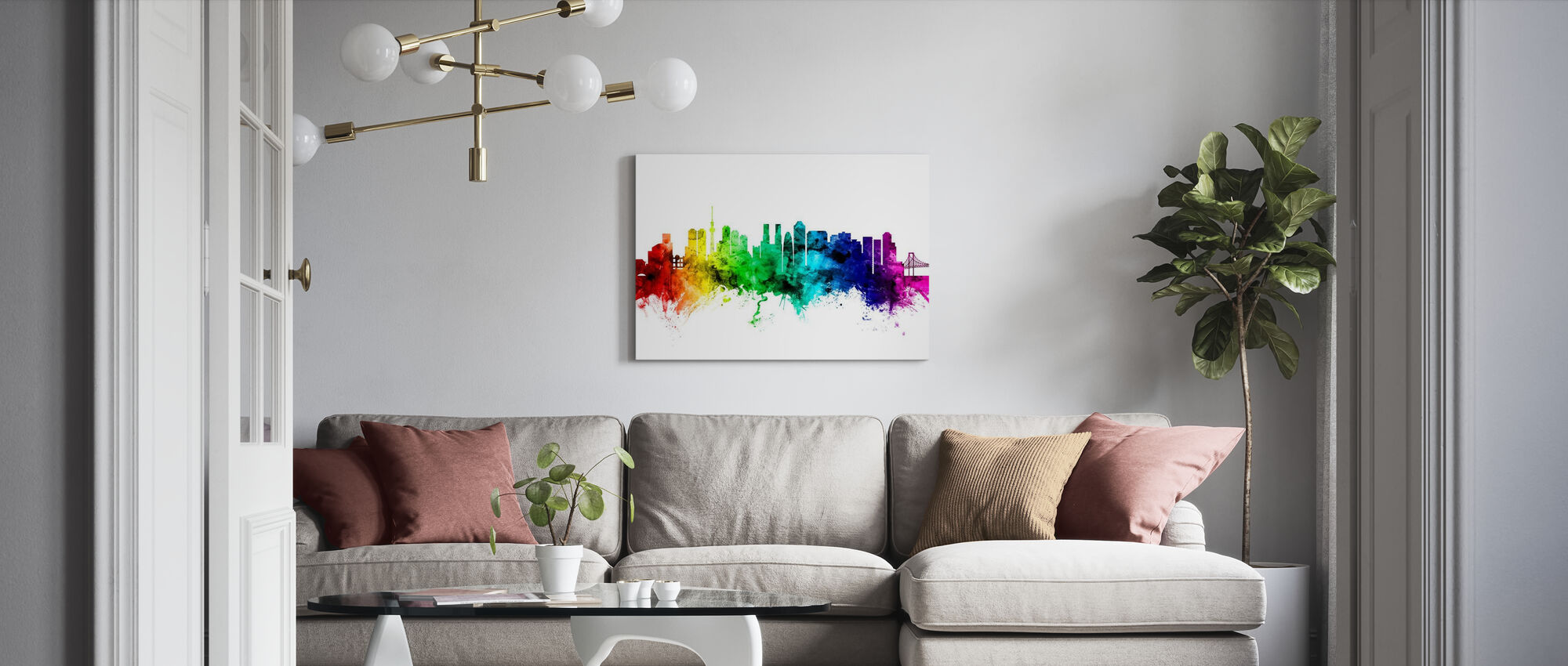 Tokyo Skyline Rainbow - Canvas print - Living Room