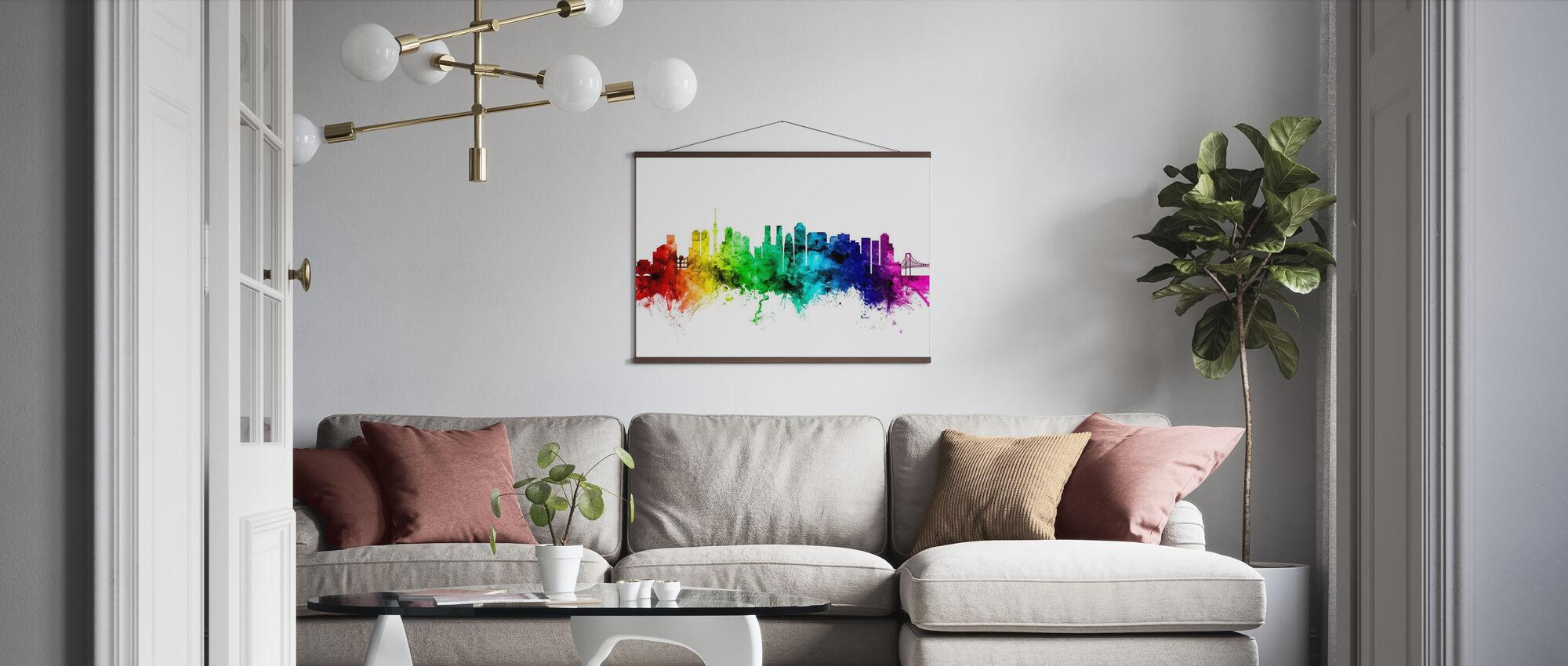 Tokyo Skyline Rainbow - Poster - Living Room