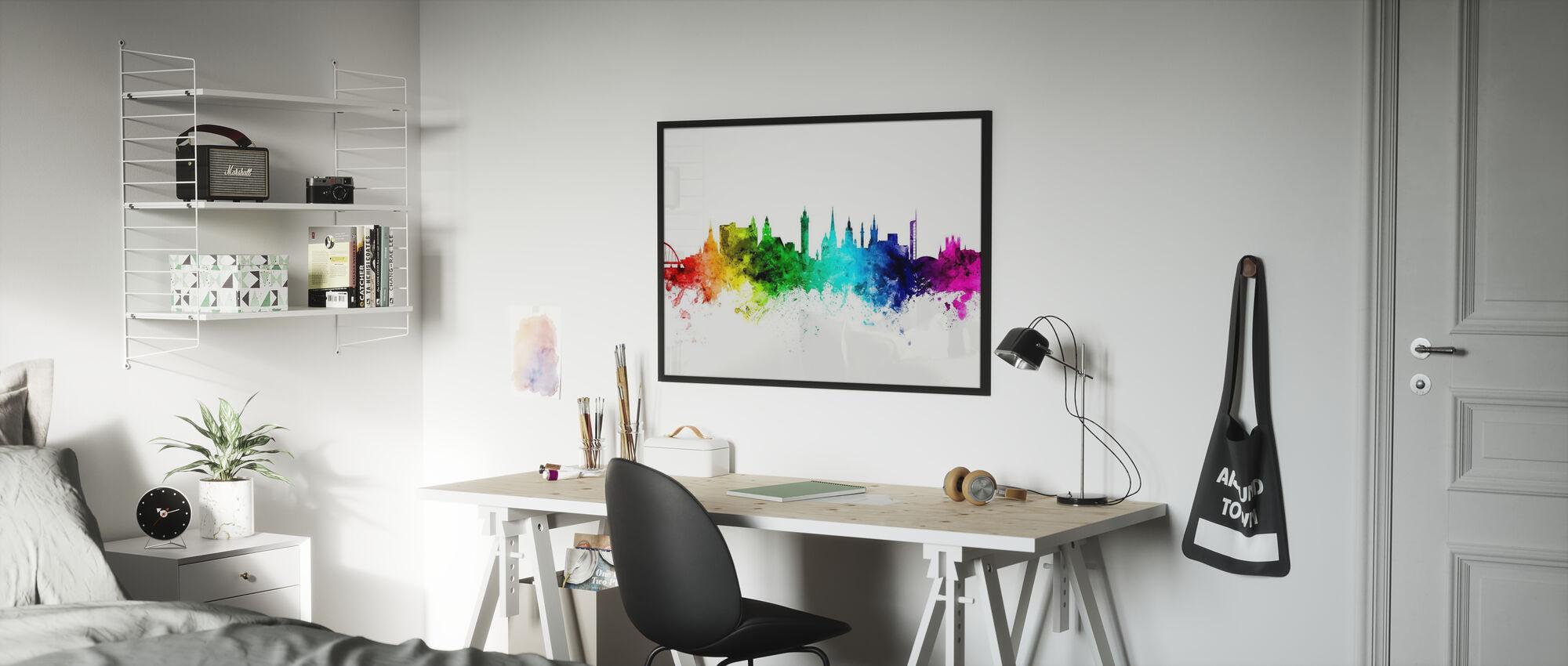 Glasgow Skyline Rainbow - Framed print - Kids Room