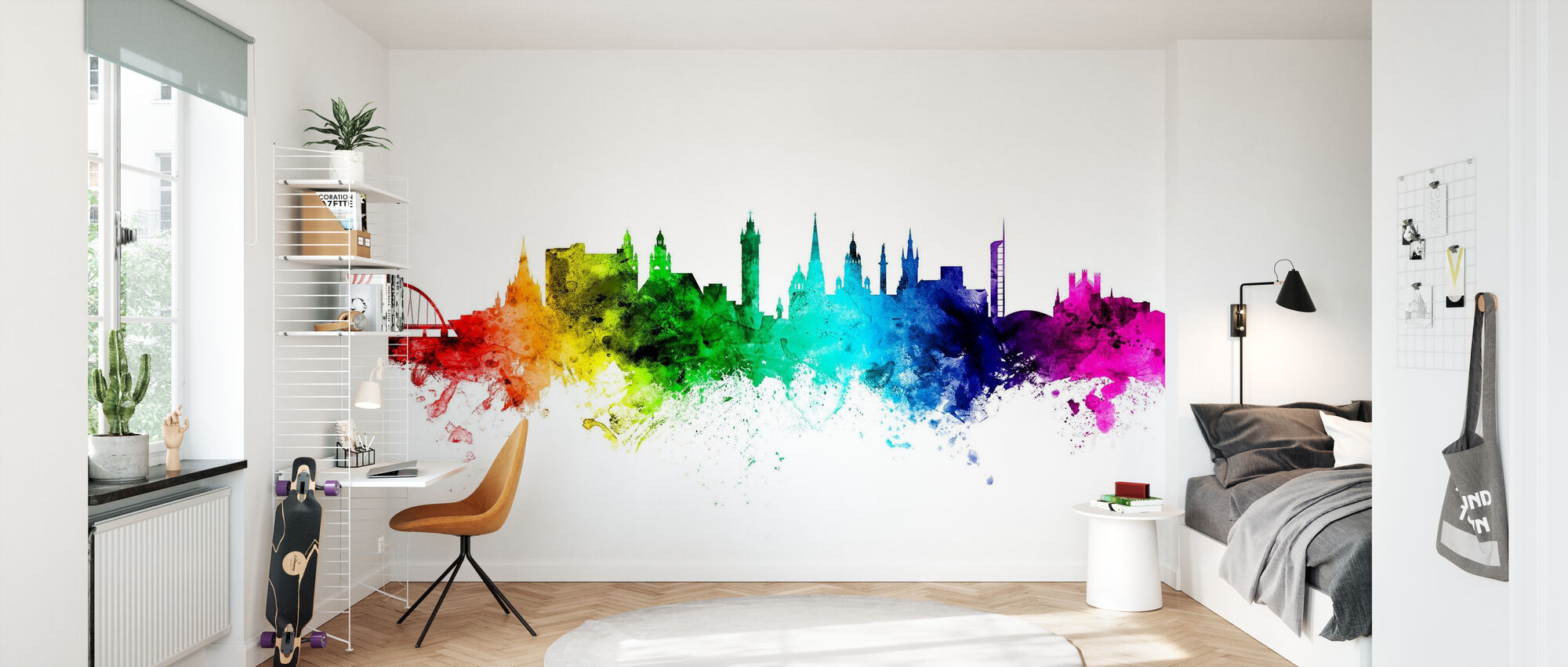 Glasgow Skyline Rainbow - Wallpaper - Kids Room