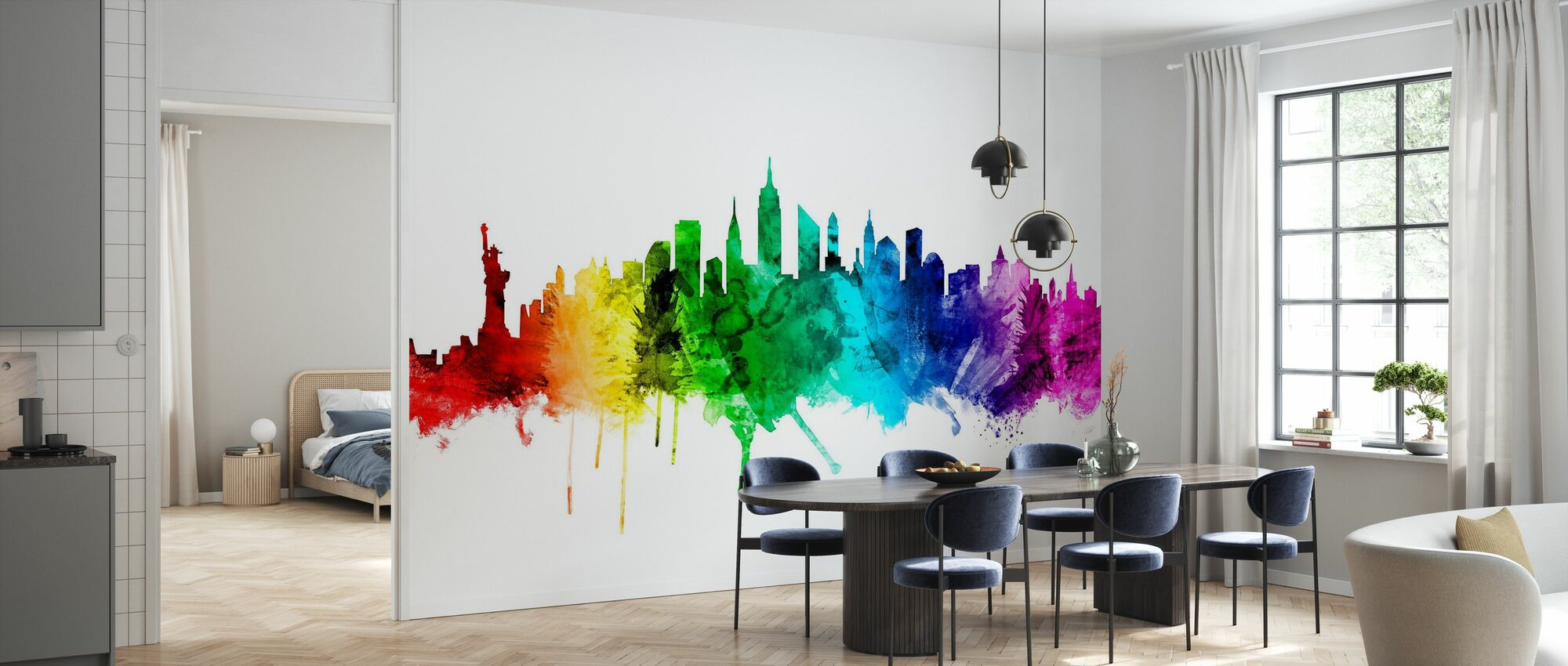 New York Skyline Rainbow 2 - Wallpaper - Kitchen