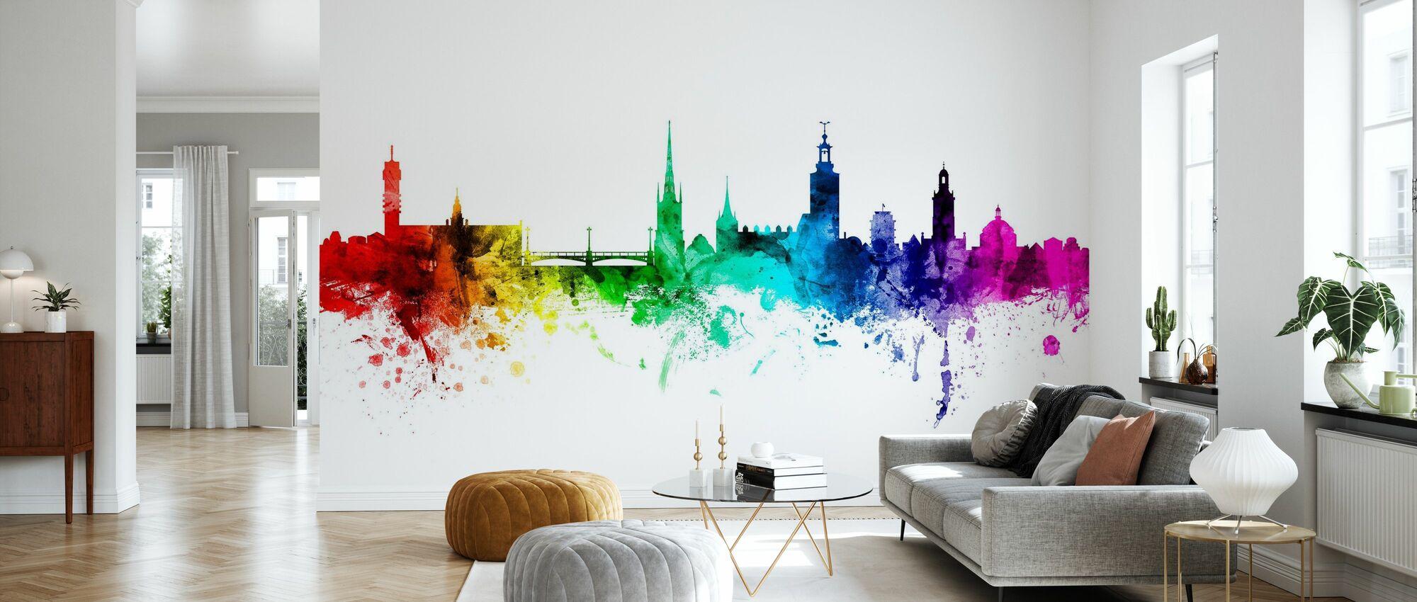 Stockholm Skyline Regenbogen - Tapete - Wohnzimmer