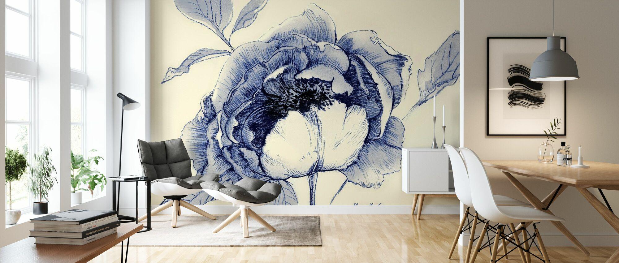Light Indigo Flower - Wallpaper - Living Room