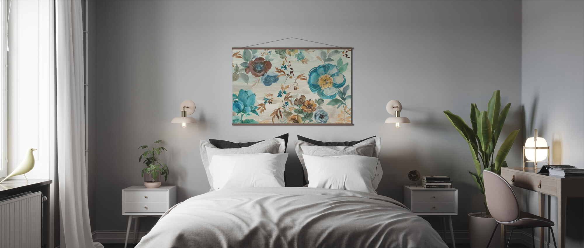 Turquoise Floral - Poster - Schlafzimmer