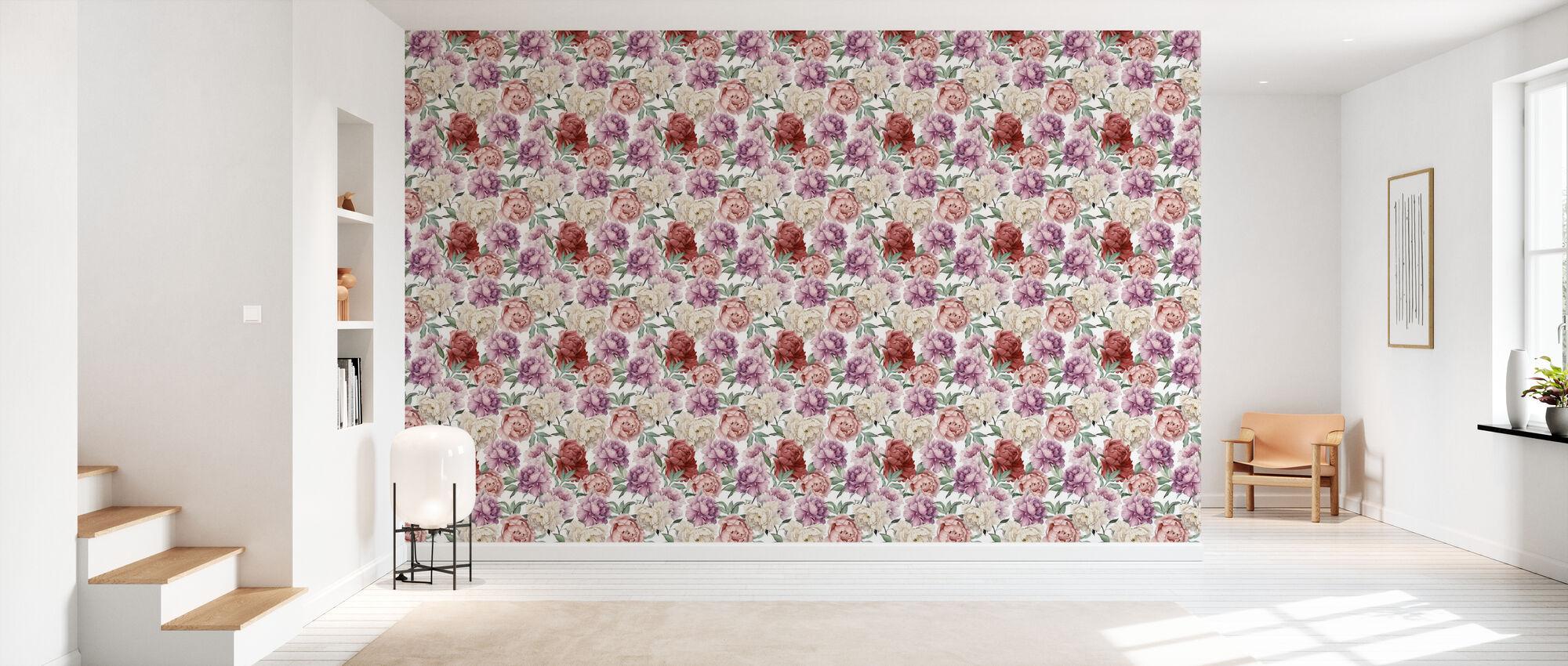 Sweet Peonies Pattern - Wallpaper - Hallway