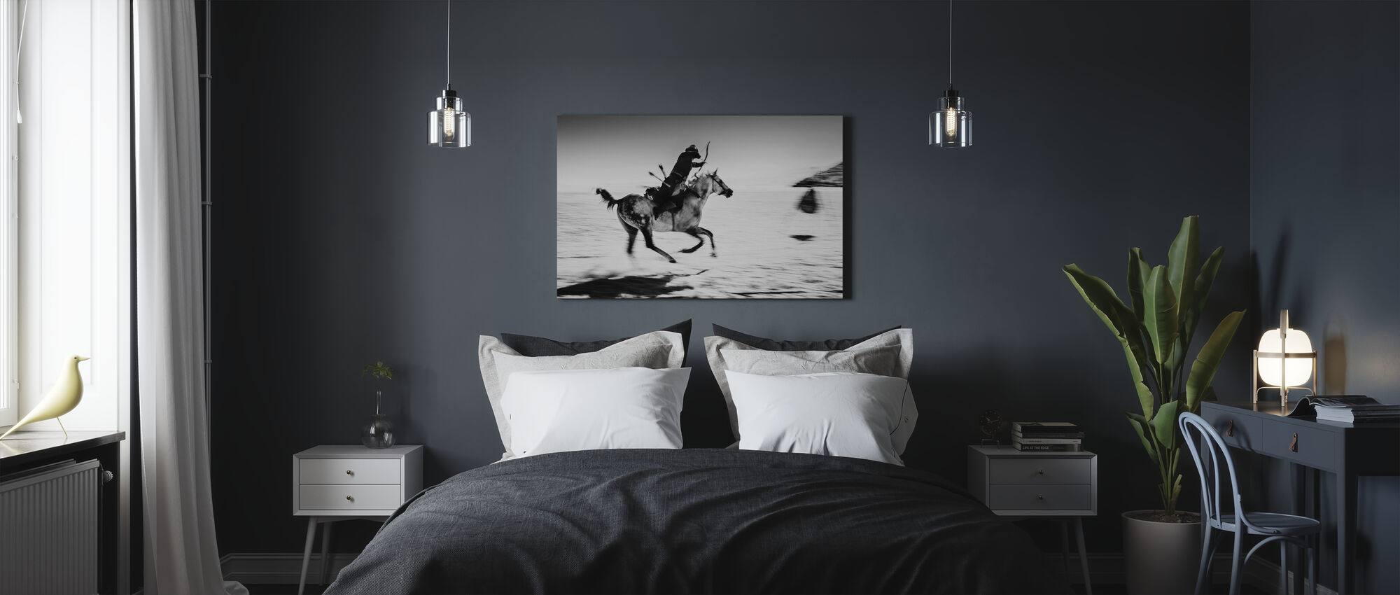 Cheval Galopping et Bowman, noir et blanc - Impression sur toile - Chambre