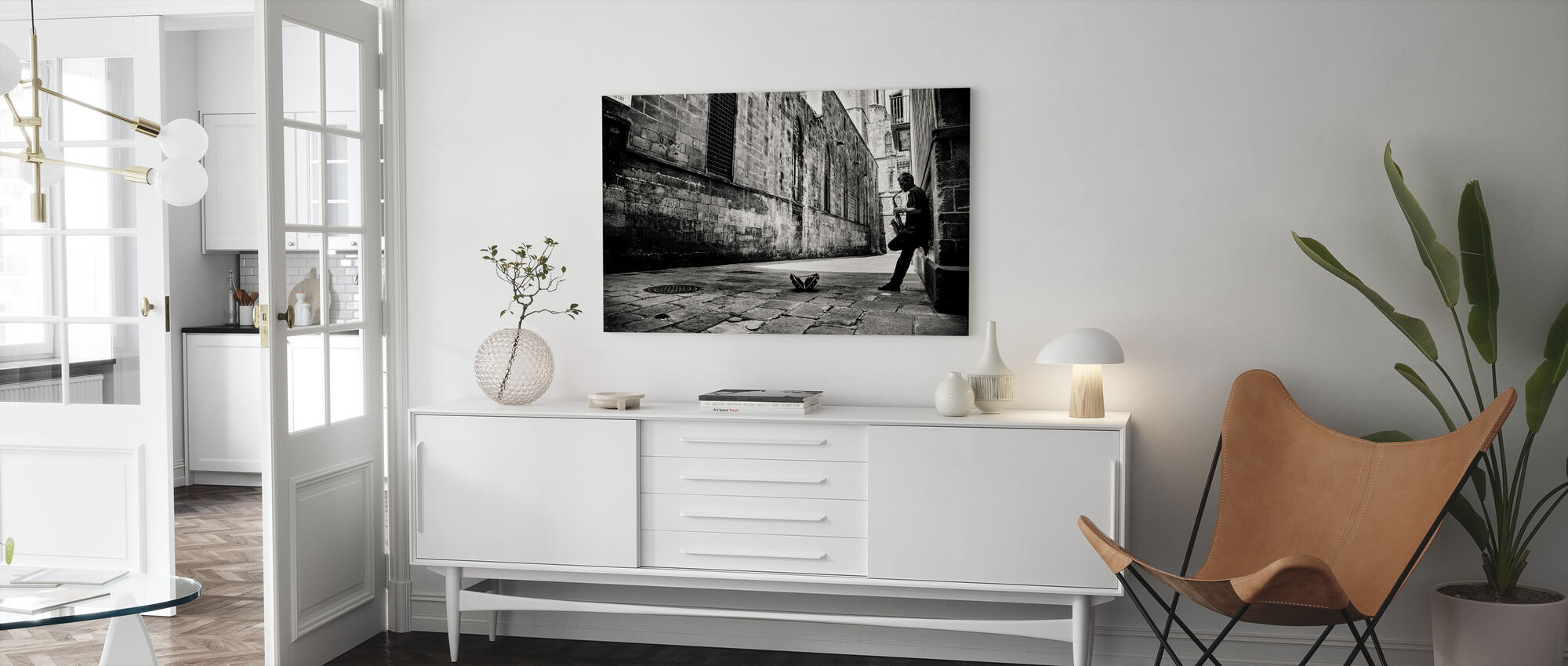 Silent Street, black and white - Canvas print - Living Room