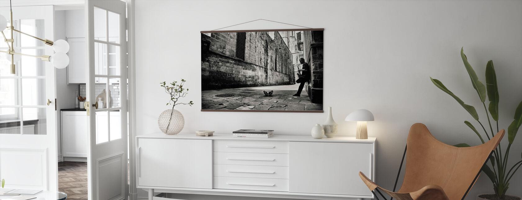 Silent Street, schwarz/weiß - Poster - Wohnzimmer