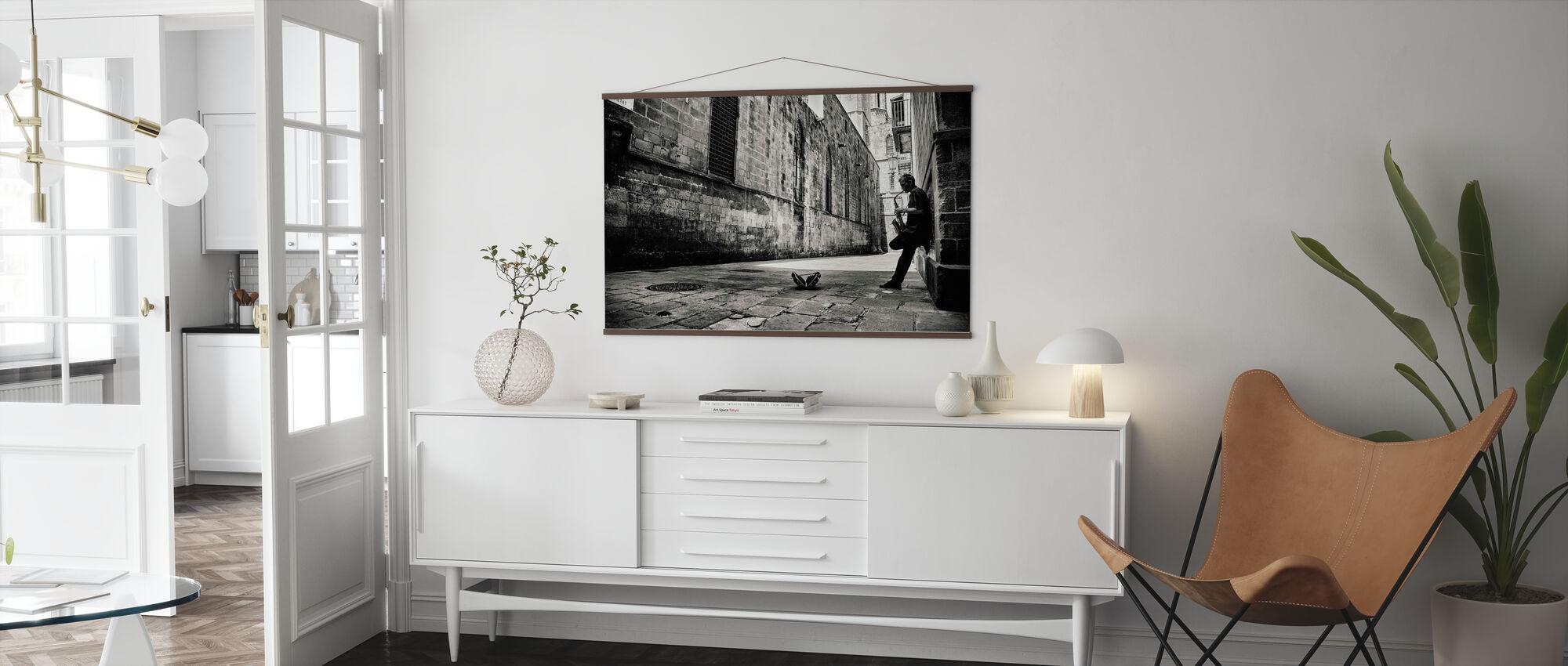 Silent Street, black and white - Poster - Living Room