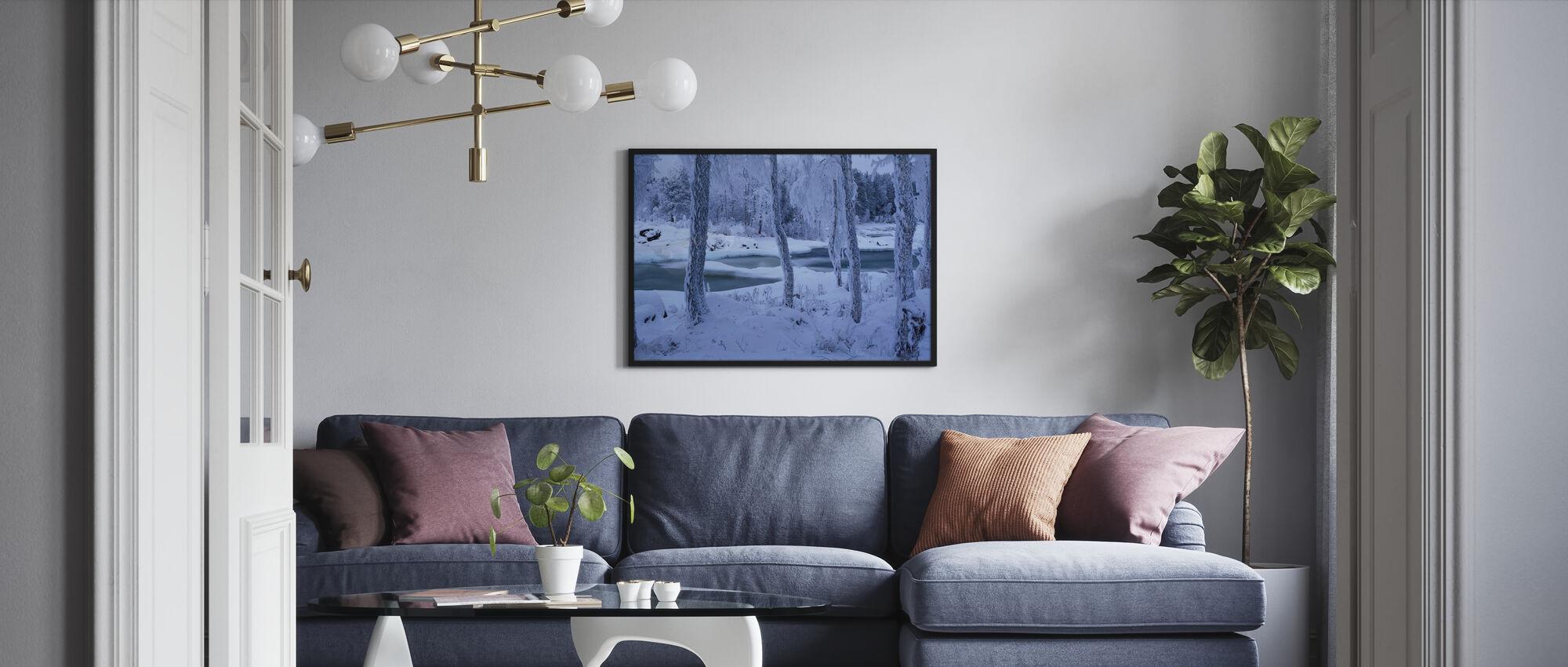 Kengisforsen in Winter Dress - Framed print - Living Room