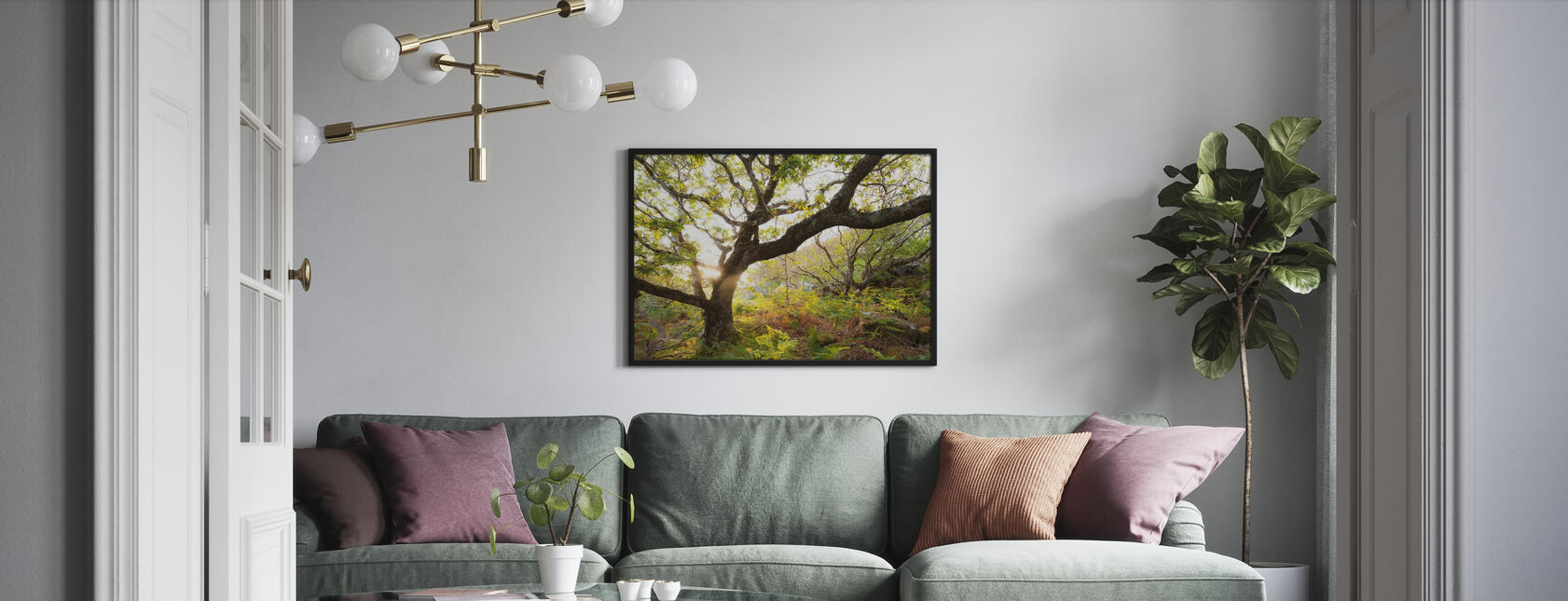 Schots eikenhout met achtergrondverlichting - Ingelijste print - Woonkamer