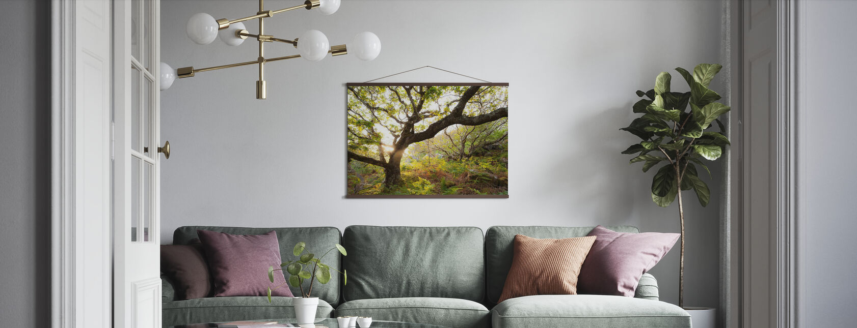 Schots eikenhout met achtergrondverlichting - Poster - Woonkamer