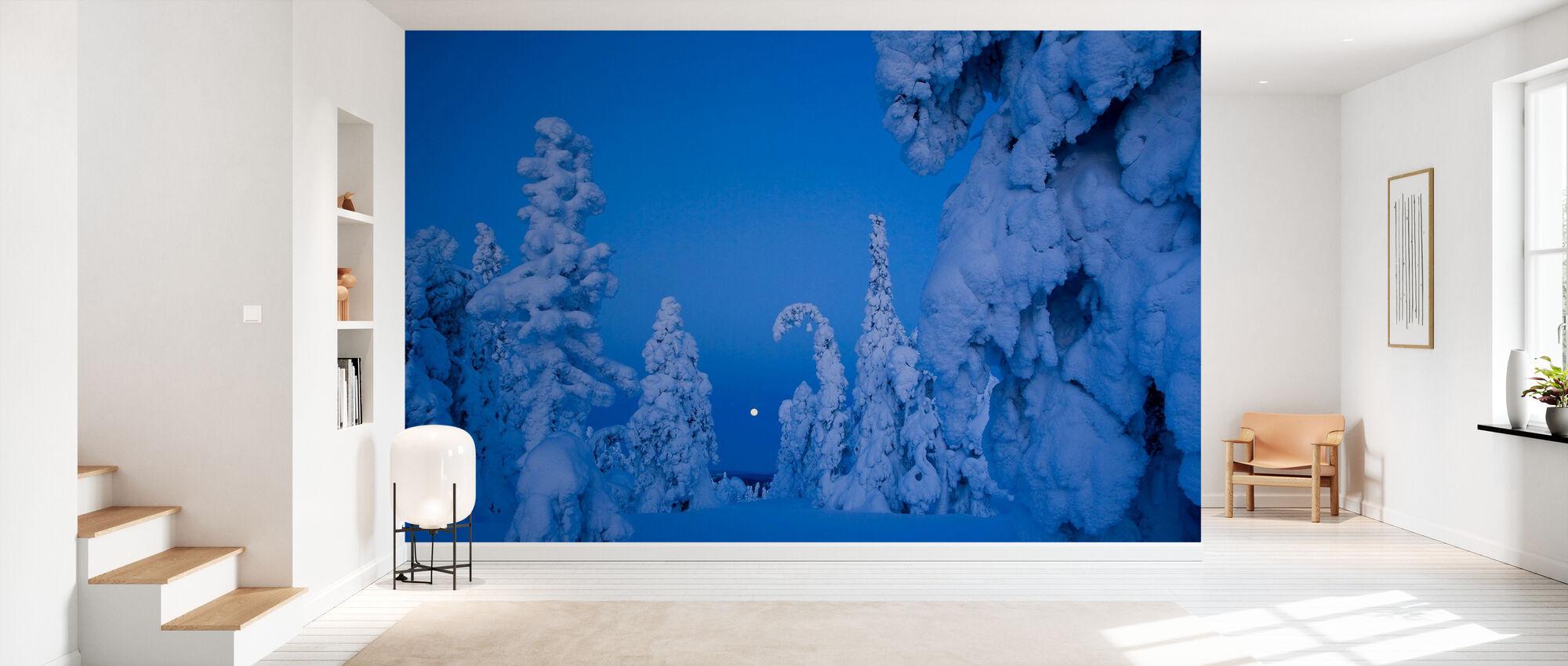 Sneeuw beladen Taiga Bos - Behang - Gang