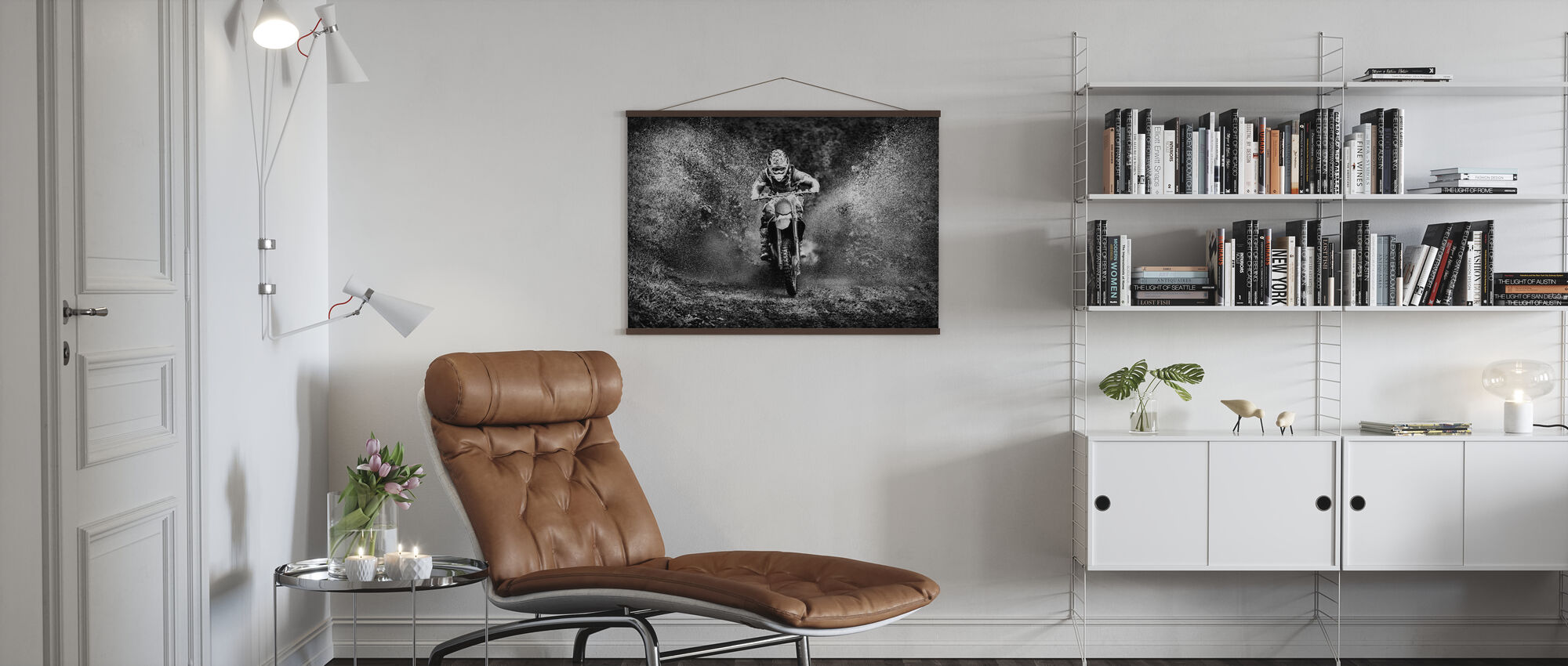 Spray Mud Motorcycle, black and white - Poster - Living Room