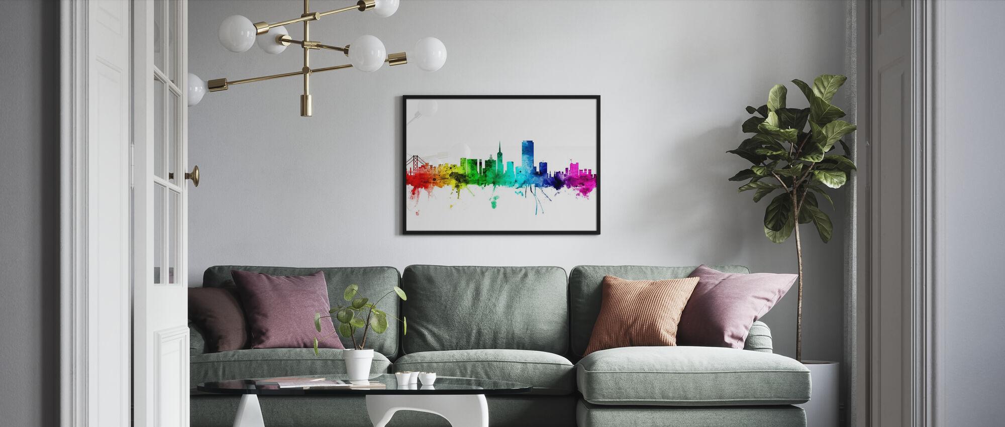 San Francisco Skyline Regenbogen - Gerahmtes bild - Wohnzimmer