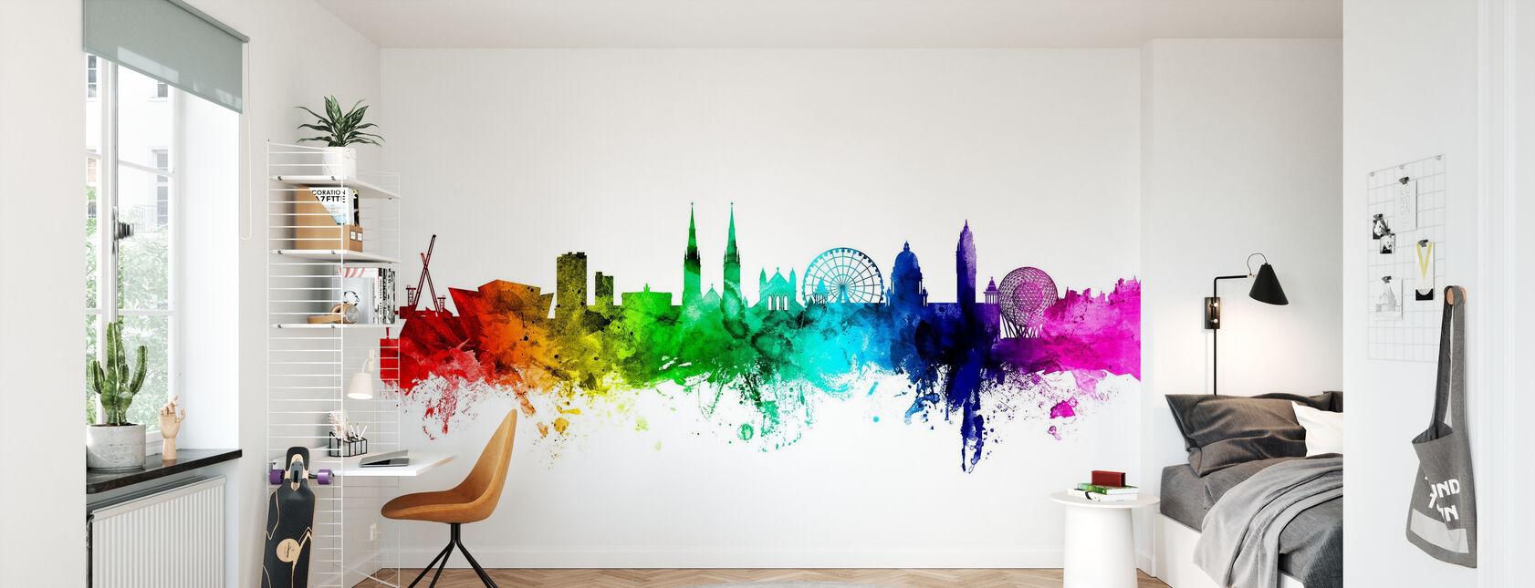 Belfast Skyline Rainbow - Wallpaper - Kids Room