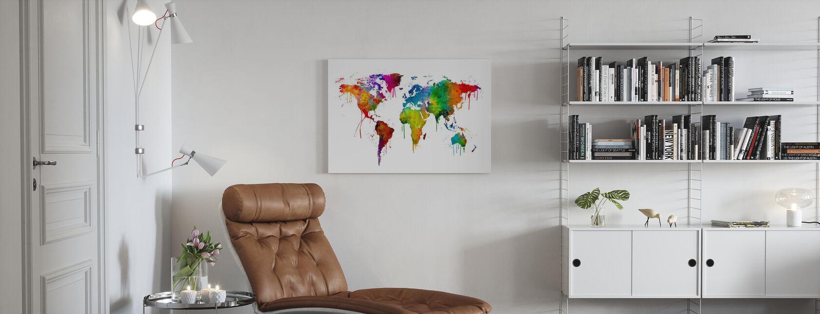 Akvarell World Karta - Canvastavla - Vardagsrum