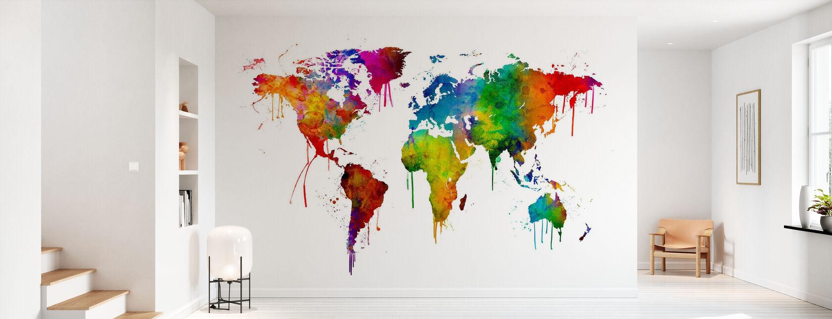 Akvarel verdenskort - Tapet - Entré